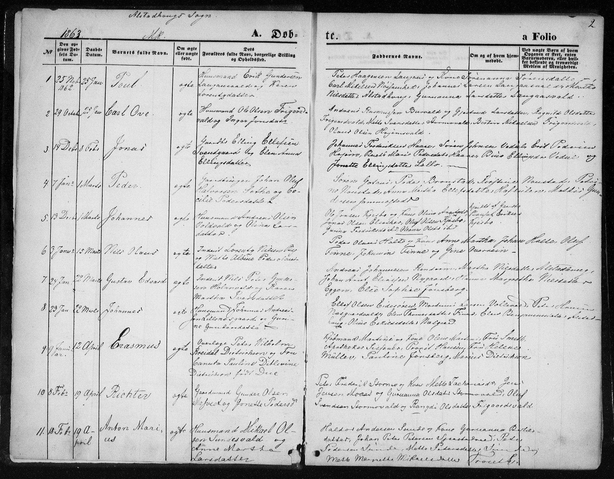 SAT, Ministerialprotokoller, klokkerbøker og fødselsregistre - Nord-Trøndelag, 717/L0157: Ministerialbok nr. 717A08 /1, 1863-1877, s. 2