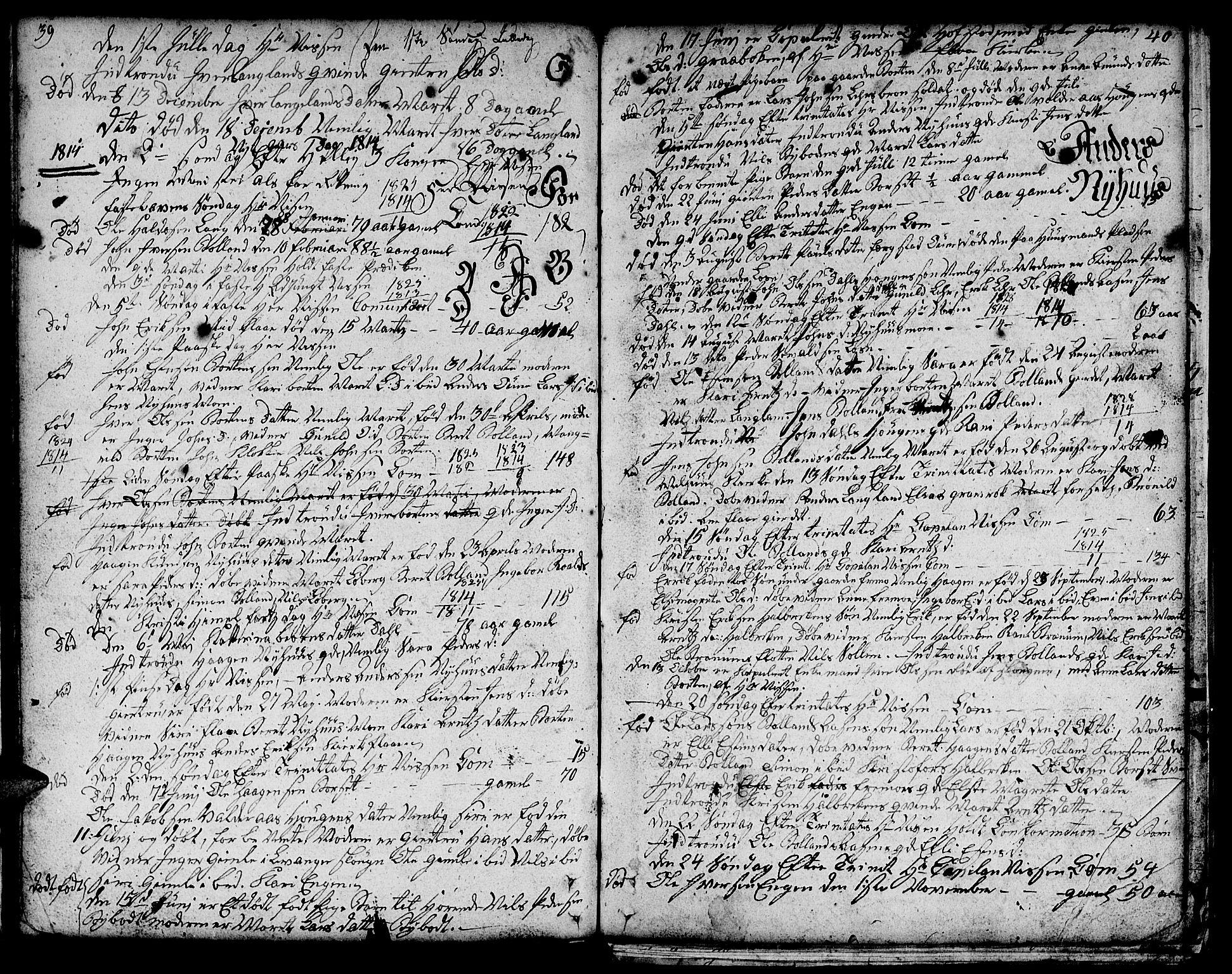 SAT, Ministerialprotokoller, klokkerbøker og fødselsregistre - Sør-Trøndelag, 693/L1120: Klokkerbok nr. 693C01, 1799-1816, s. 39-40