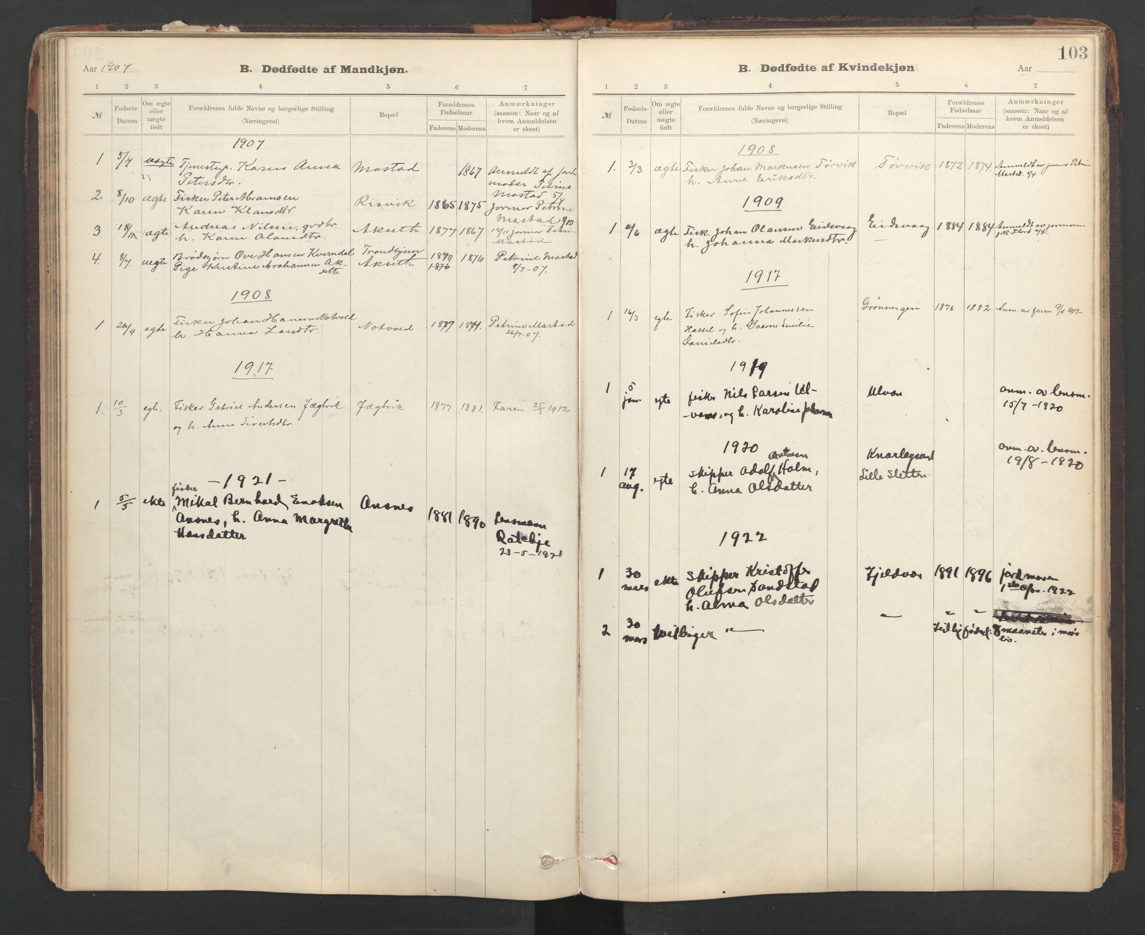 SAT, Ministerialprotokoller, klokkerbøker og fødselsregistre - Sør-Trøndelag, 637/L0559: Ministerialbok nr. 637A02, 1899-1923, s. 103