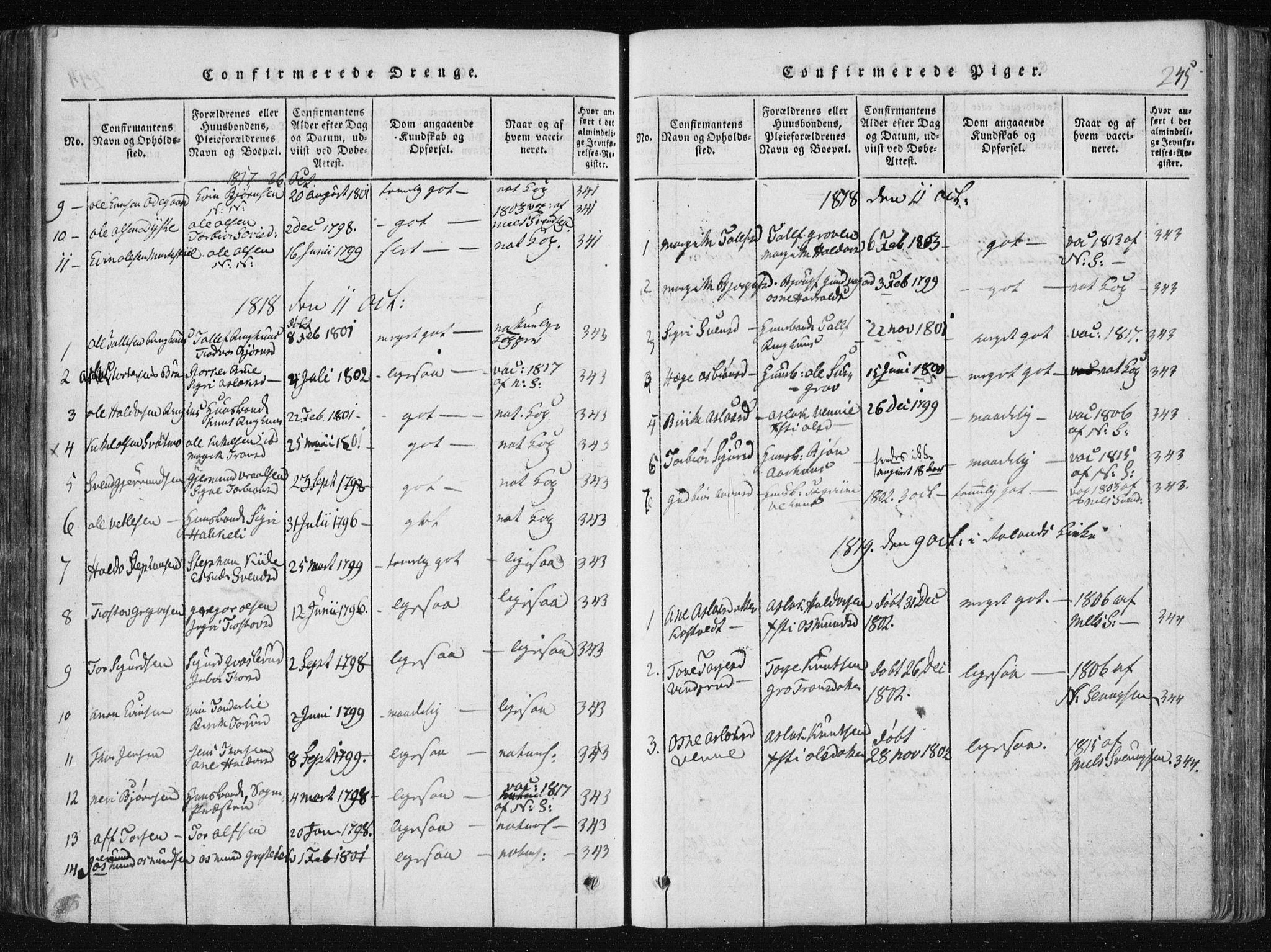 SAKO, Vinje kirkebøker, F/Fa/L0003: Ministerialbok nr. I 3, 1814-1843, s. 245
