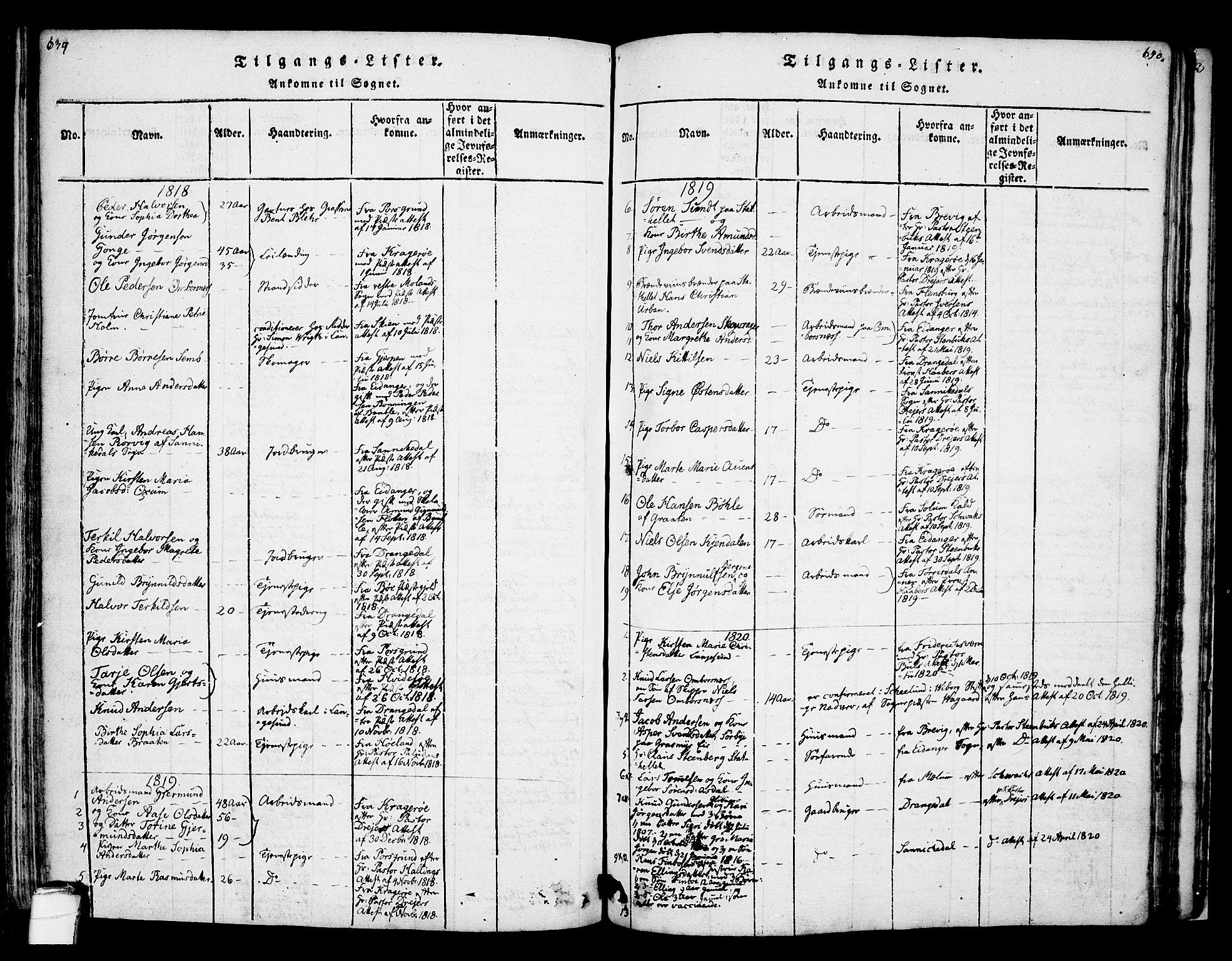 SAKO, Bamble kirkebøker, F/Fa/L0003: Ministerialbok nr. I 3 /1, 1814-1834, s. 639-640
