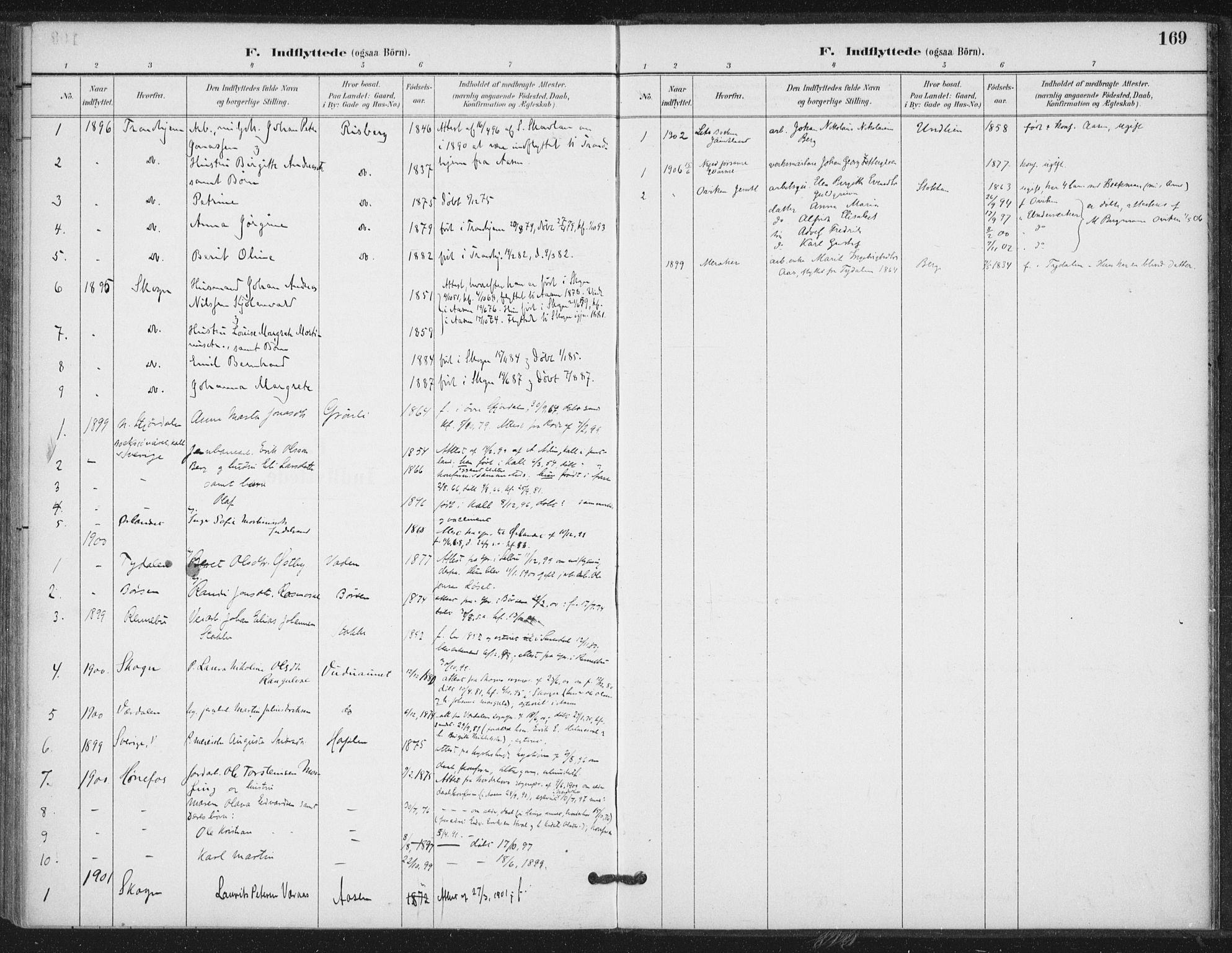 SAT, Ministerialprotokoller, klokkerbøker og fødselsregistre - Nord-Trøndelag, 714/L0131: Ministerialbok nr. 714A02, 1896-1918, s. 169
