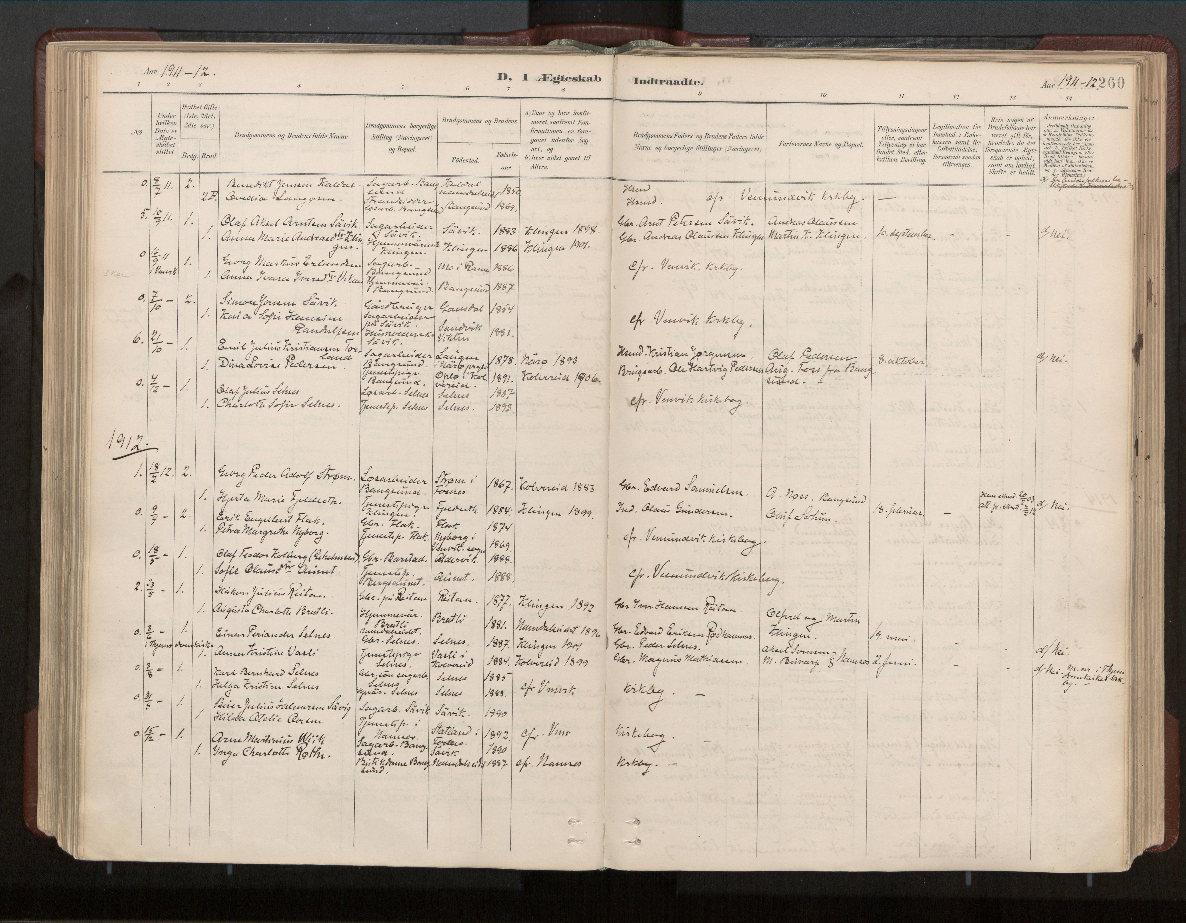 SAT, Ministerialprotokoller, klokkerbøker og fødselsregistre - Nord-Trøndelag, 770/L0589: Ministerialbok nr. 770A03, 1887-1929, s. 260