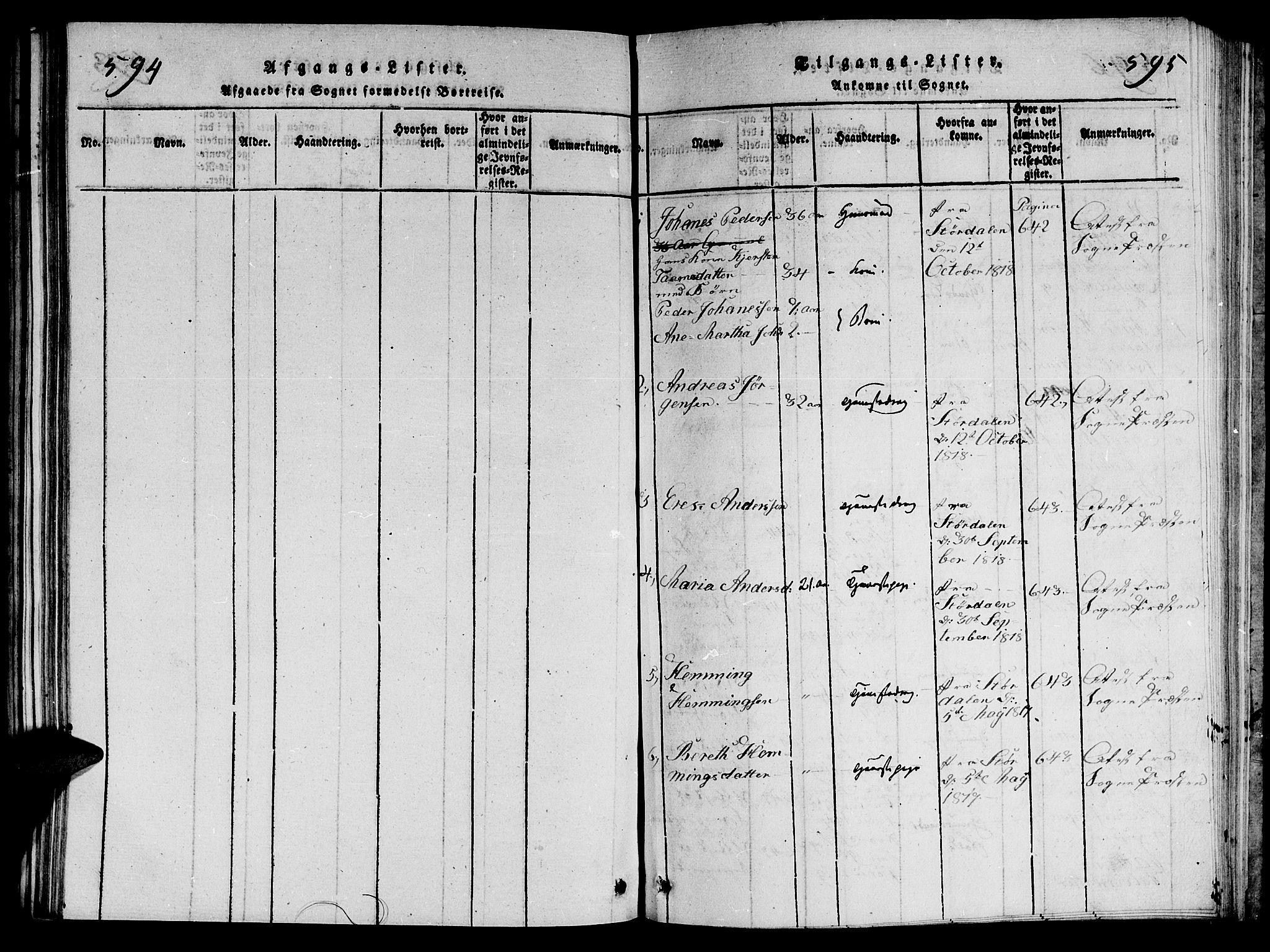 SAT, Ministerialprotokoller, klokkerbøker og fødselsregistre - Nord-Trøndelag, 714/L0132: Klokkerbok nr. 714C01, 1817-1824, s. 594-595