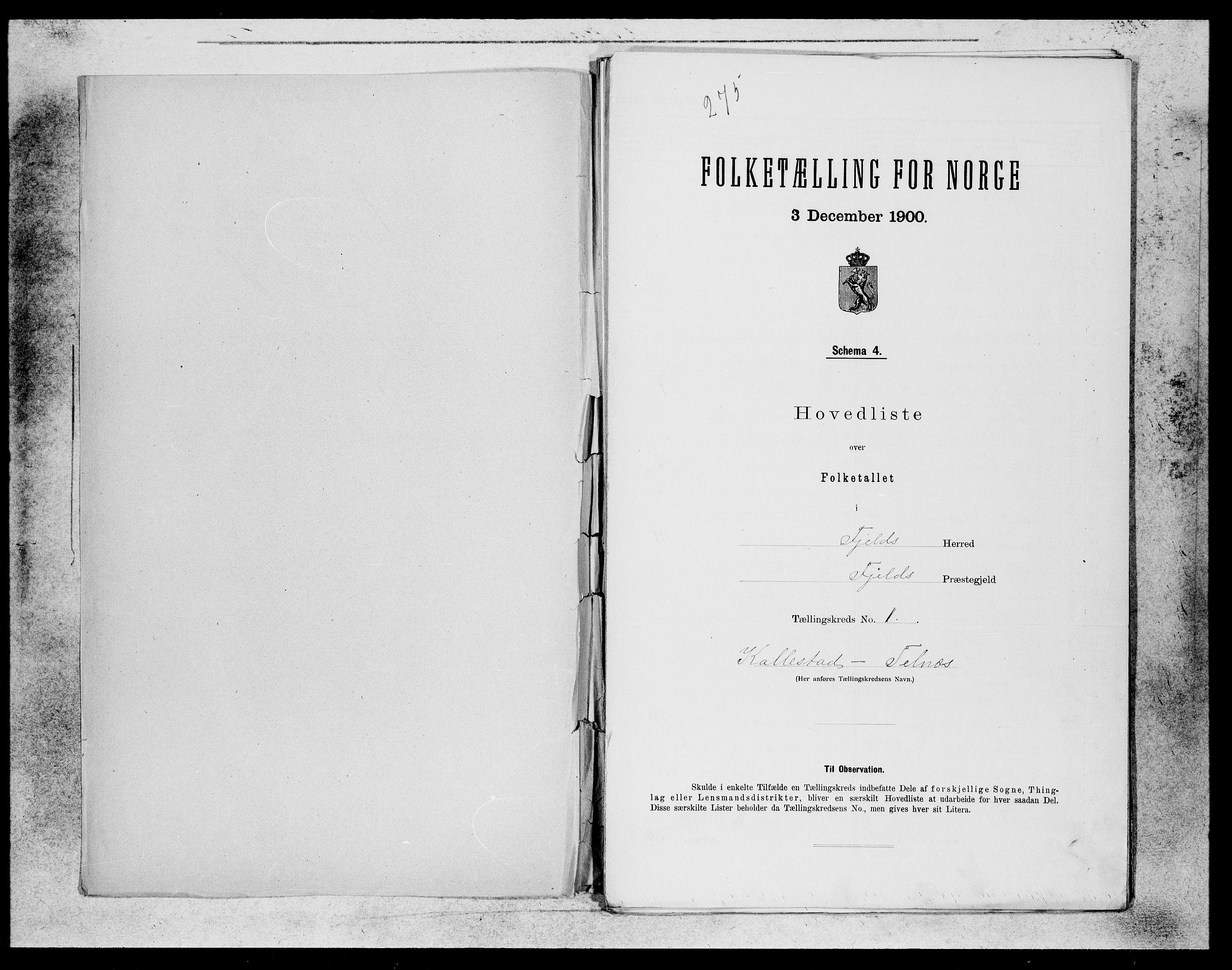 SAB, Folketelling 1900 for 1246 Fjell herred, 1900, s. 1