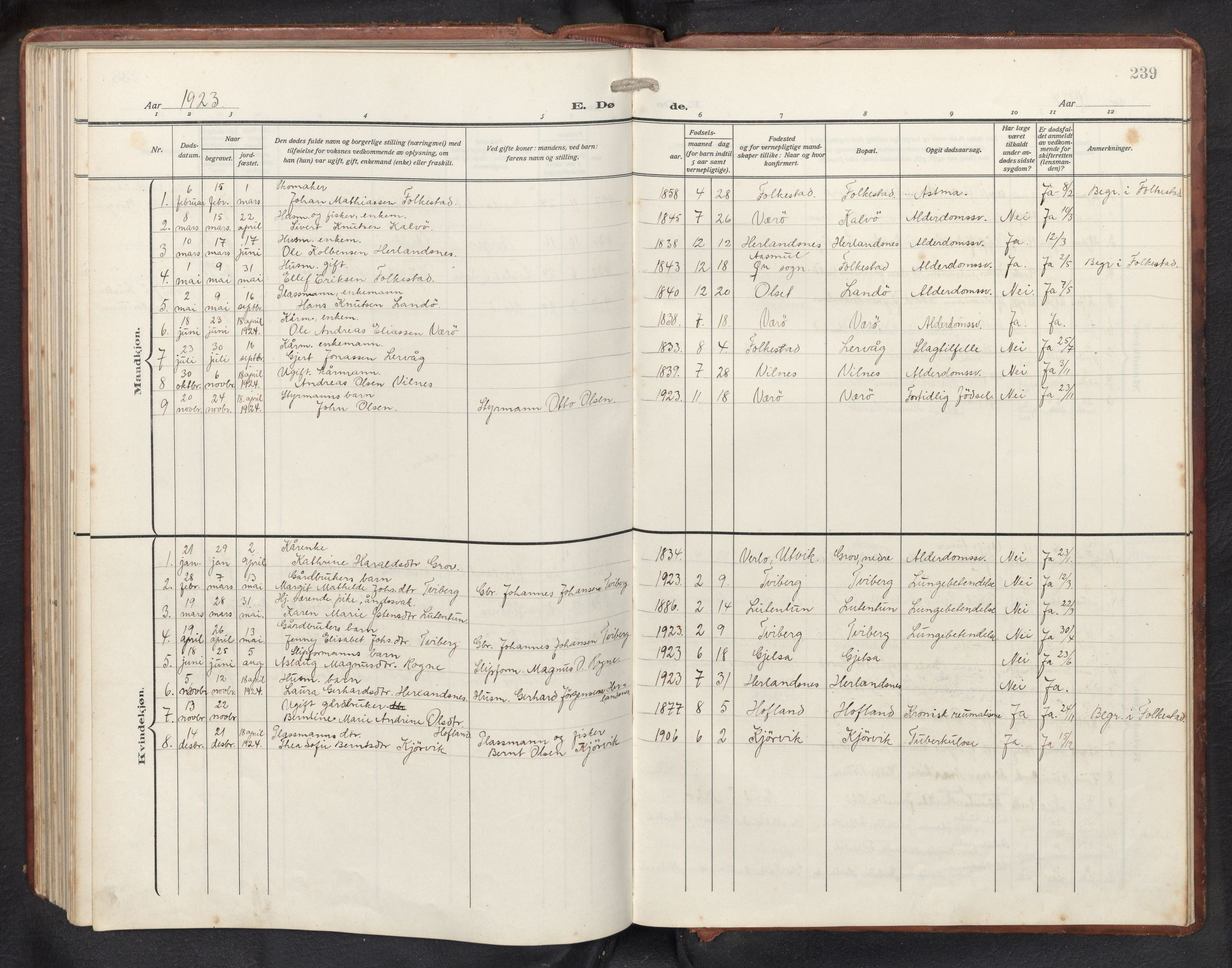 SAB, Askvoll sokneprestembete, H/Hab/Habb/L0002: Klokkerbok nr. B 2, 1910-1947, s. 238b-239a
