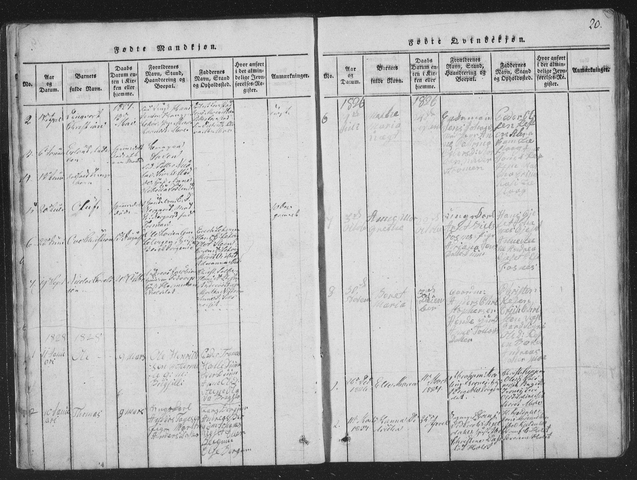 SAT, Ministerialprotokoller, klokkerbøker og fødselsregistre - Nord-Trøndelag, 773/L0613: Ministerialbok nr. 773A04, 1815-1845, s. 20