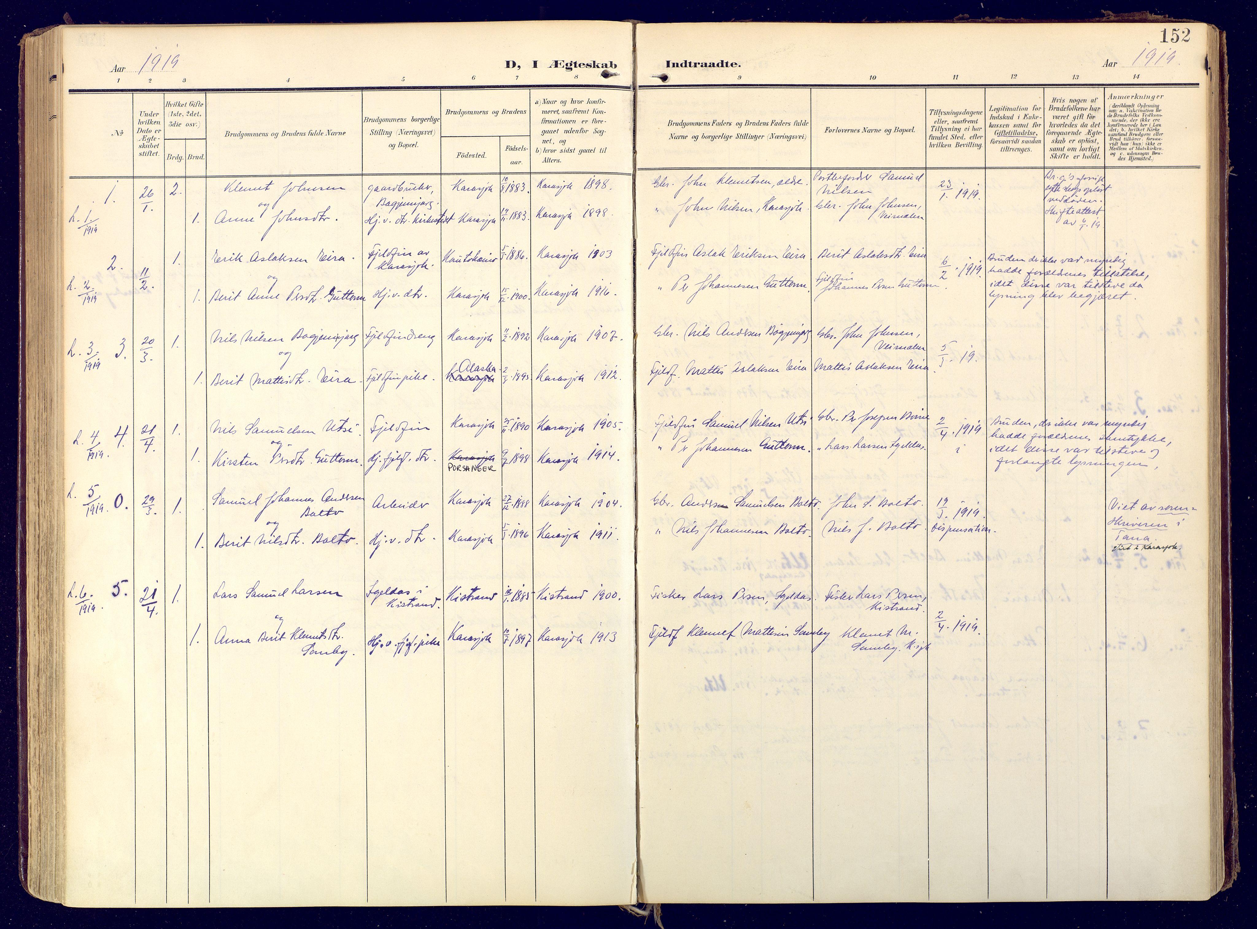 SATØ, Karasjok sokneprestkontor, H/Ha: Ministerialbok nr. 3, 1907-1926, s. 152