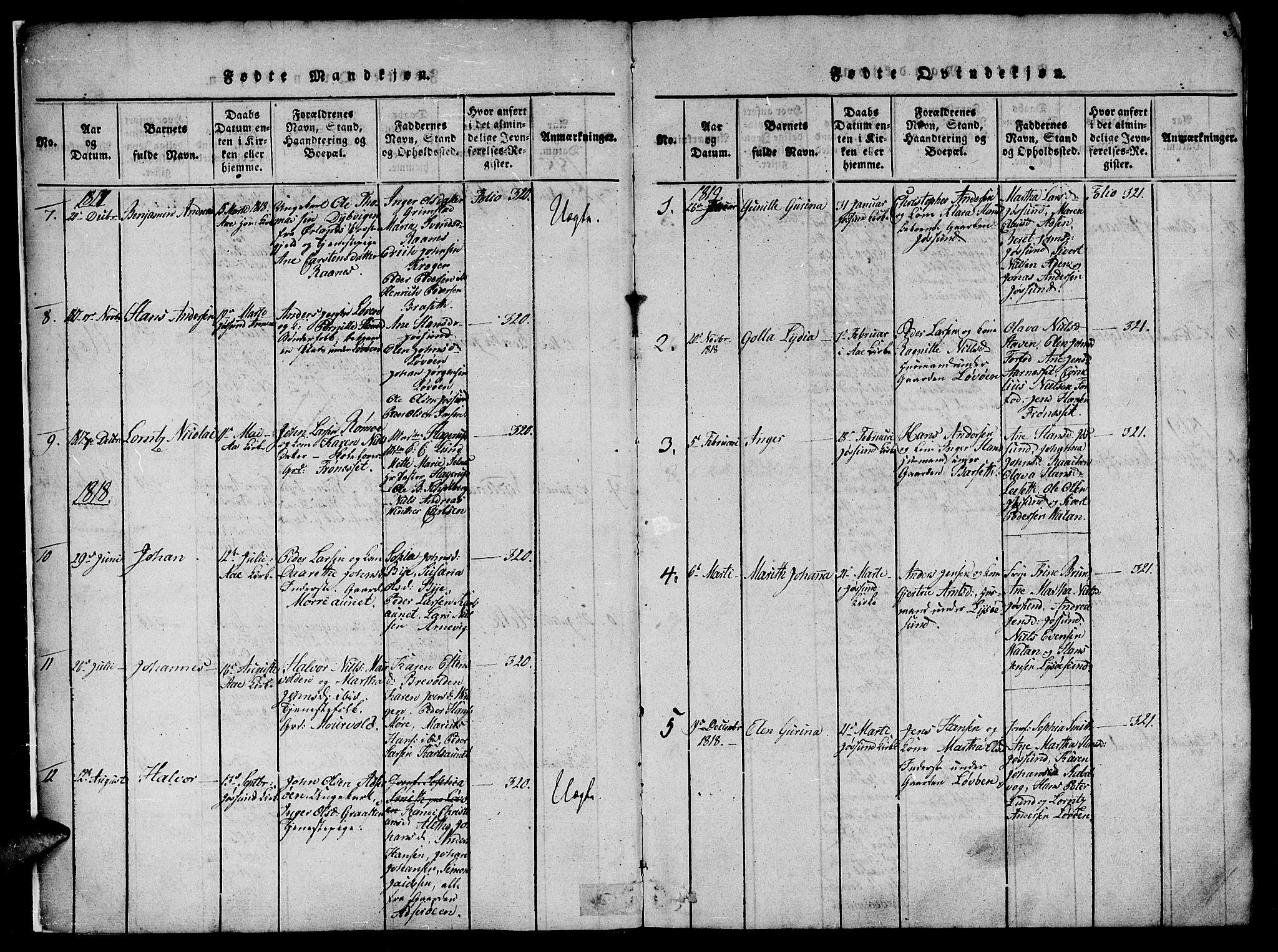 SAT, Ministerialprotokoller, klokkerbøker og fødselsregistre - Sør-Trøndelag, 655/L0675: Ministerialbok nr. 655A04, 1818-1830, s. 3