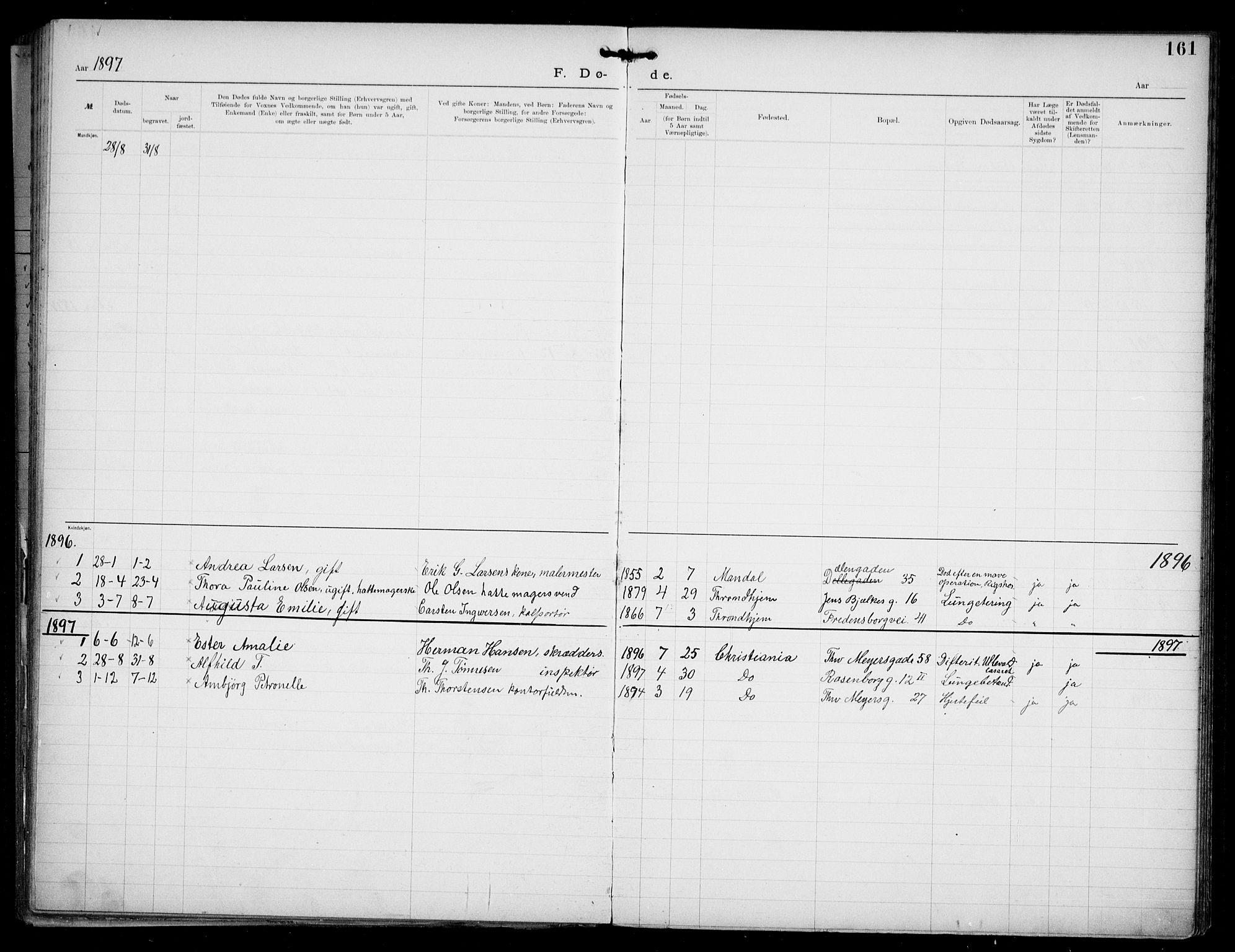 SAO, Den katolsk apostoliske menighet i Oslo , F/Fa/L0002: Dissenterprotokoll nr. 2, 1892-1937, s. 161