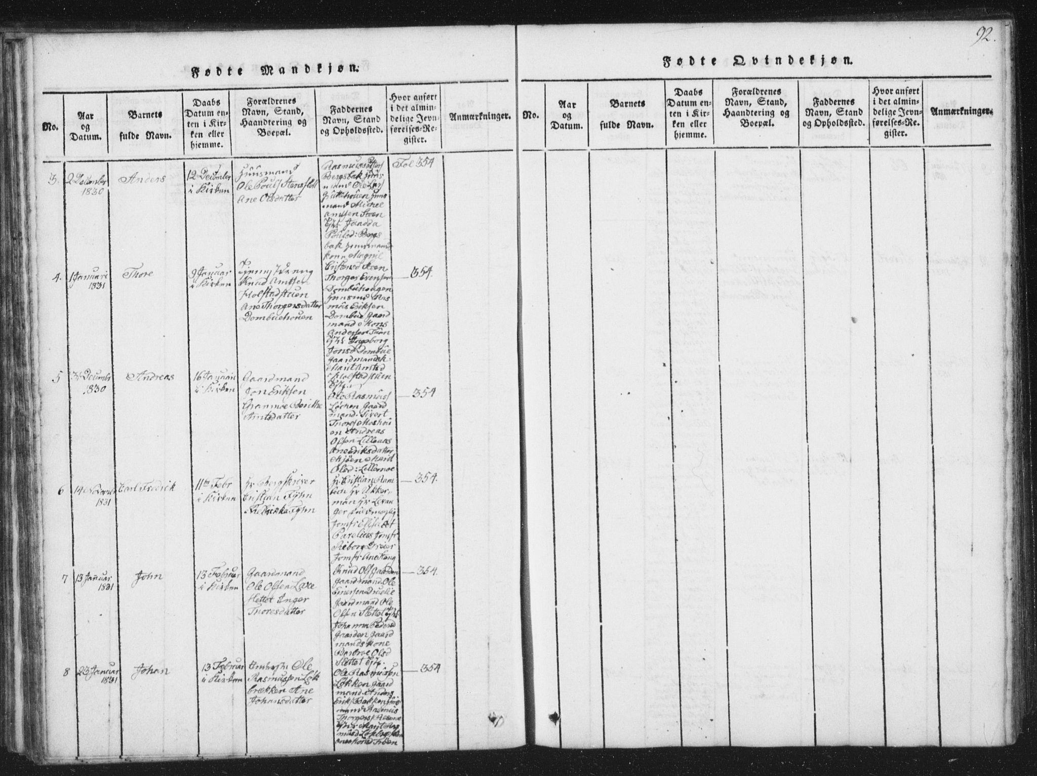SAT, Ministerialprotokoller, klokkerbøker og fødselsregistre - Sør-Trøndelag, 672/L0862: Klokkerbok nr. 672C01, 1816-1831, s. 92