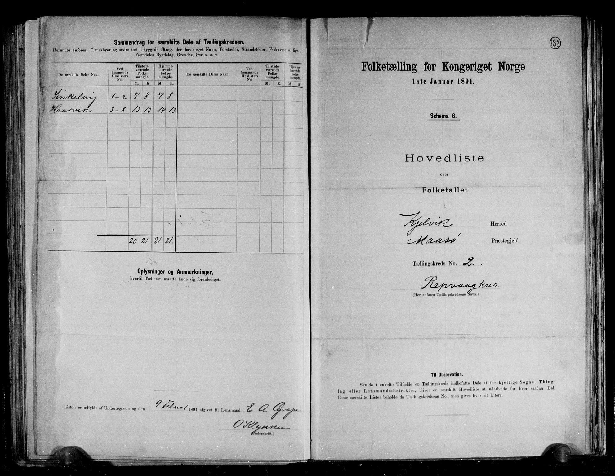 RA, Folketelling 1891 for 2019 Kjelvik herred, 1891, s. 9