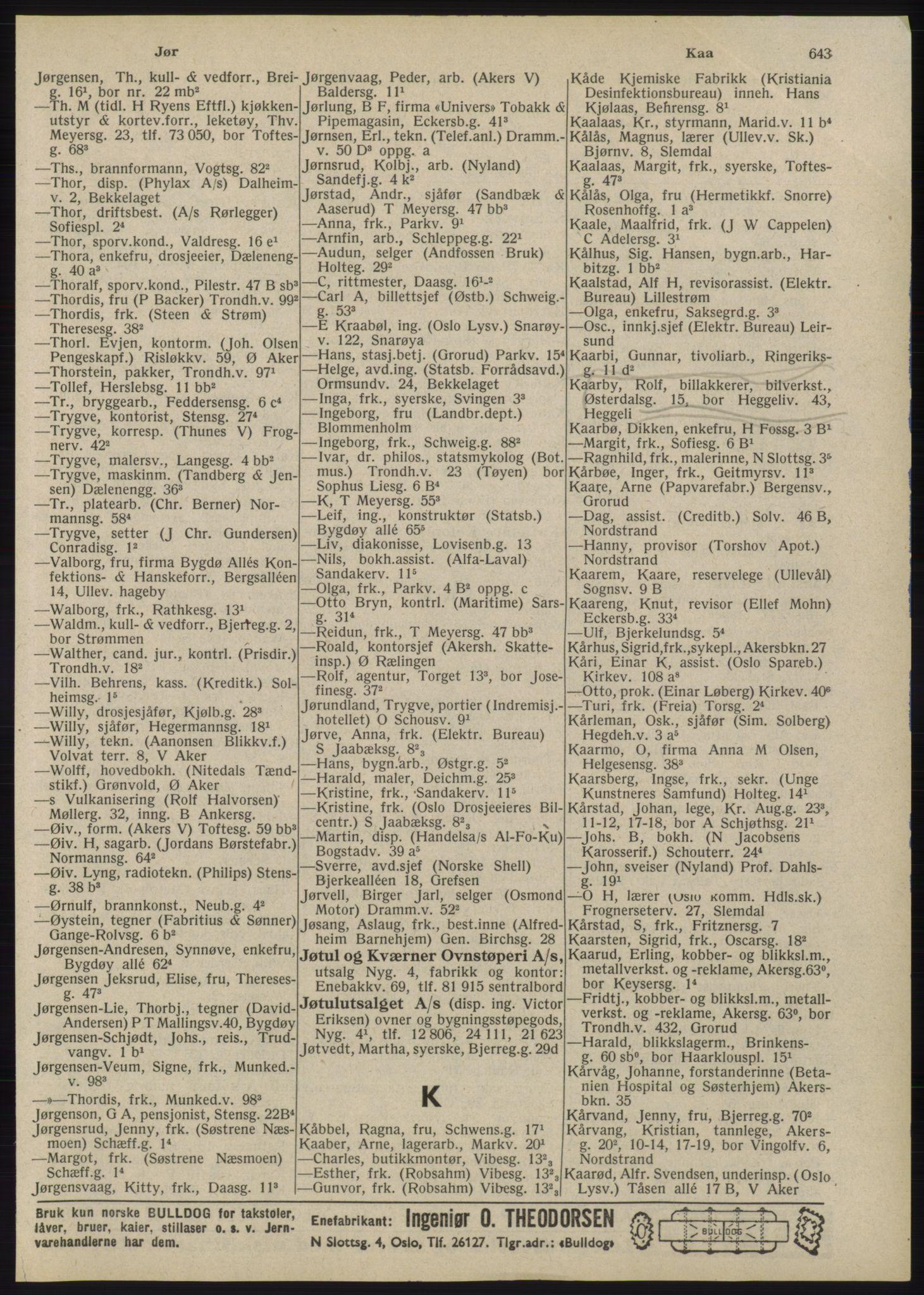 RA, Oslo adressebok (publikasjon)*, 1945, s. 643