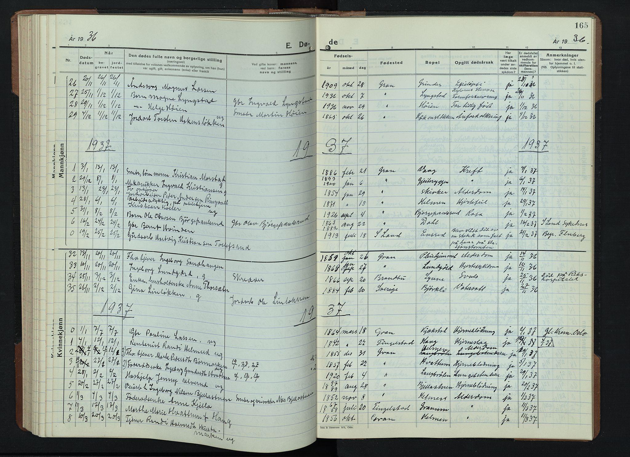 SAH, Gran prestekontor, Klokkerbok nr. 9, 1933-1950, s. 165