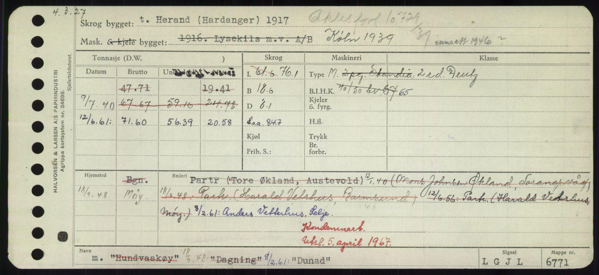 RA, Sjøfartsdirektoratet med forløpere, Skipsmålingen, H/Hd/L0008: Fartøy, C-D, s. 697