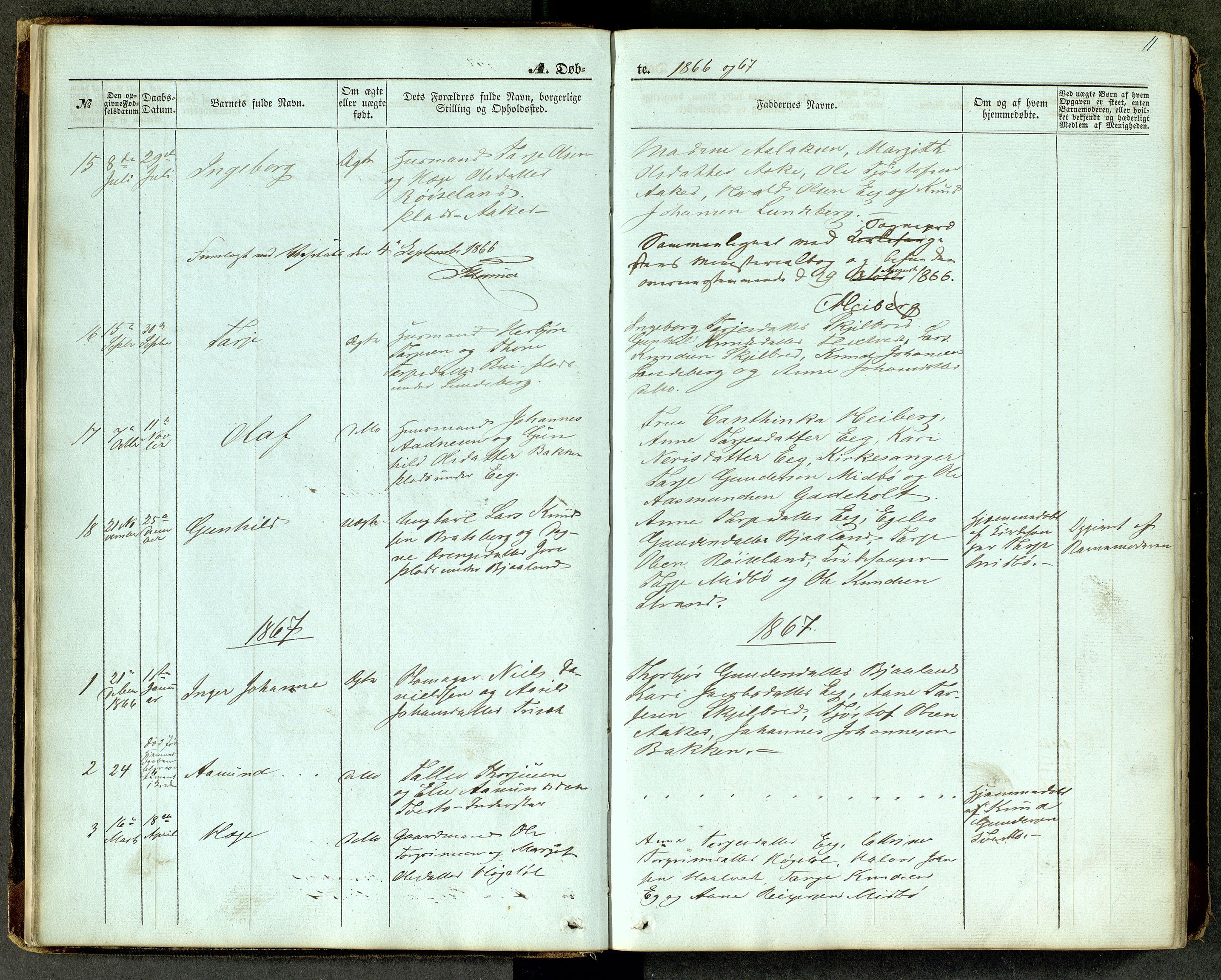 SAKO, Lårdal kirkebøker, G/Ga/L0002: Klokkerbok nr. I 2, 1861-1890, s. 11