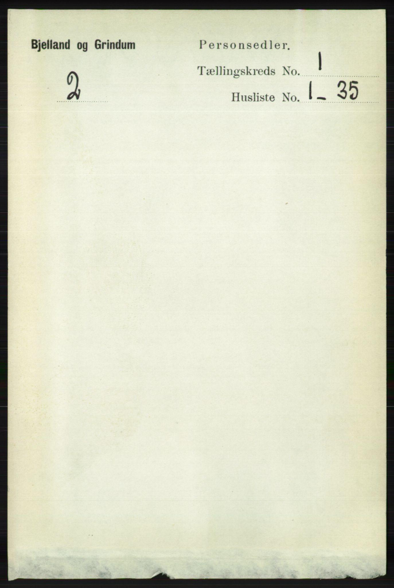 RA, Folketelling 1891 for 1024 Bjelland og Grindheim herred, 1891, s. 60