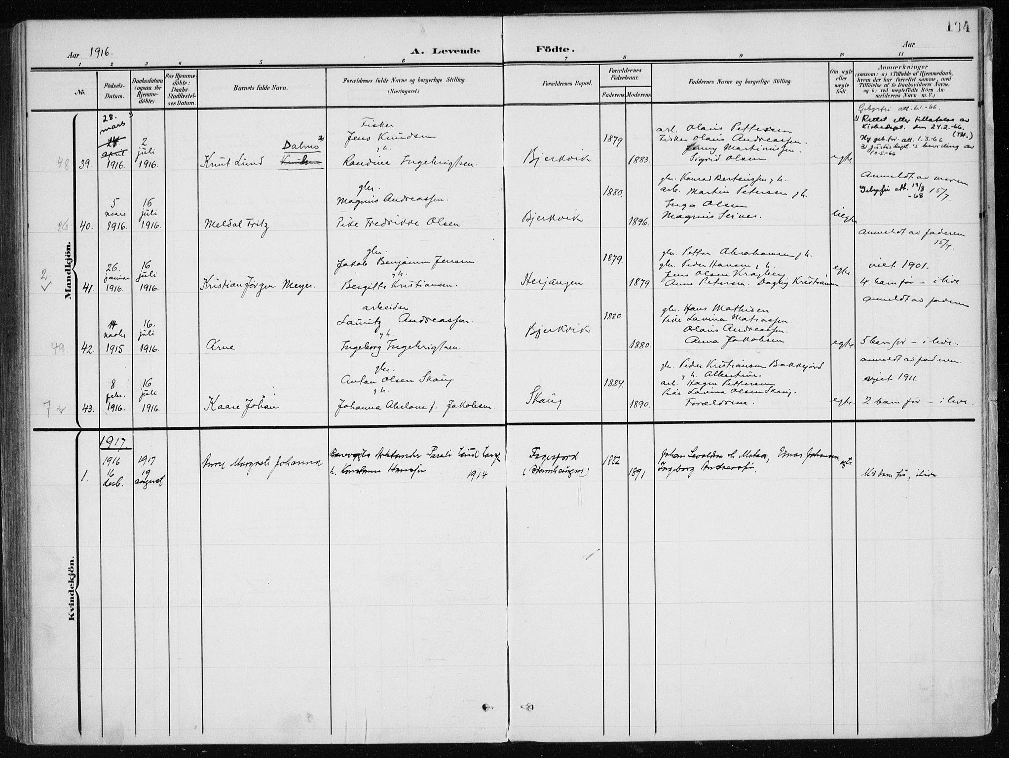 SAT, Ministerialprotokoller, klokkerbøker og fødselsregistre - Nordland, 866/L0941: Ministerialbok nr. 866A04, 1901-1917, s. 194