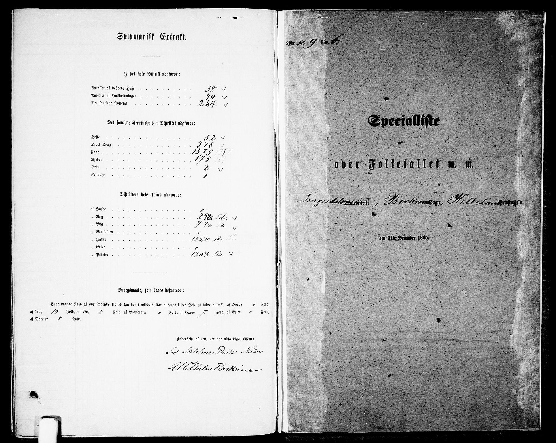 RA, Folketelling 1865 for 1115P Helleland prestegjeld, 1865, s. 141