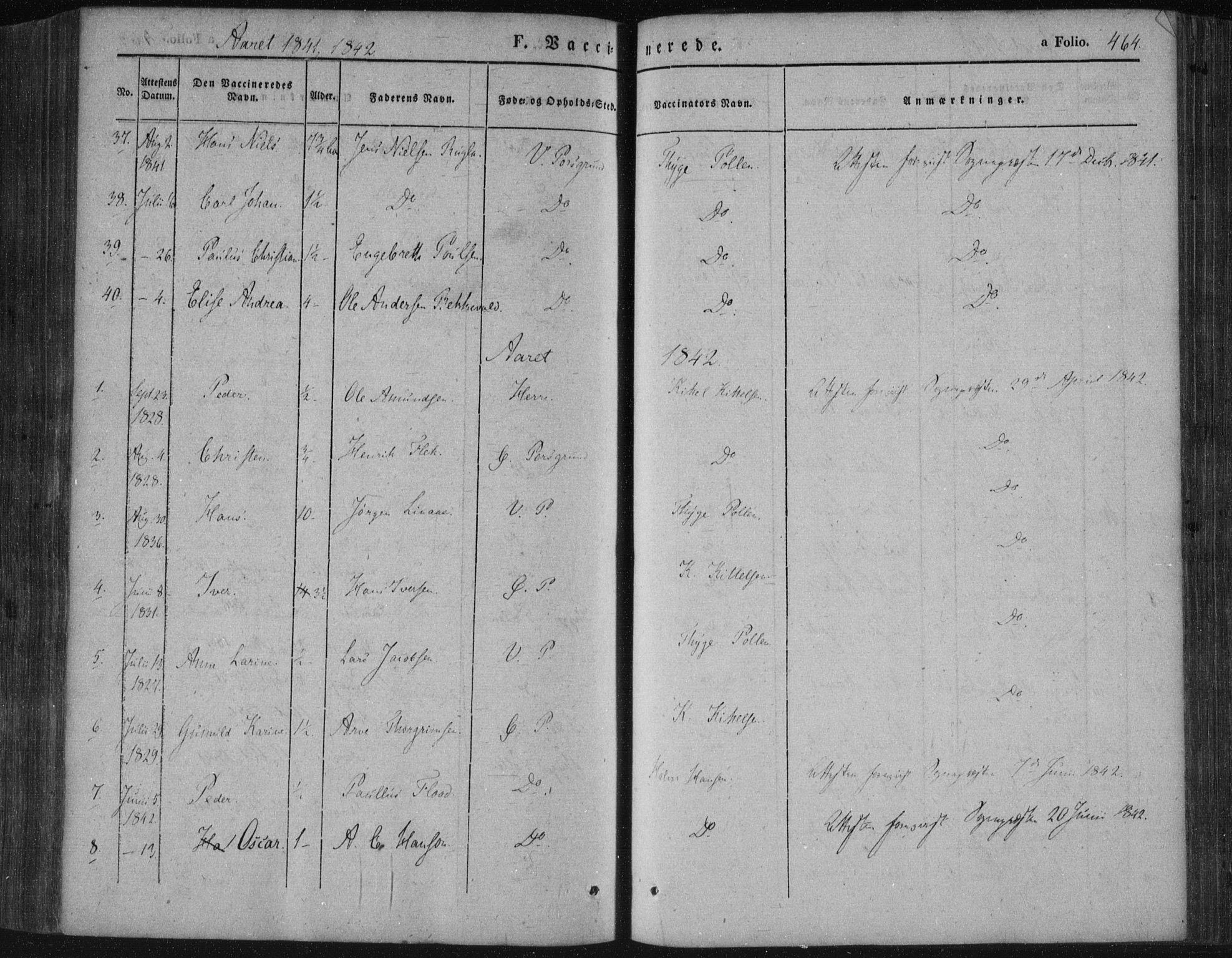 SAKO, Porsgrunn kirkebøker , F/Fa/L0006: Ministerialbok nr. 6, 1841-1857, s. 464