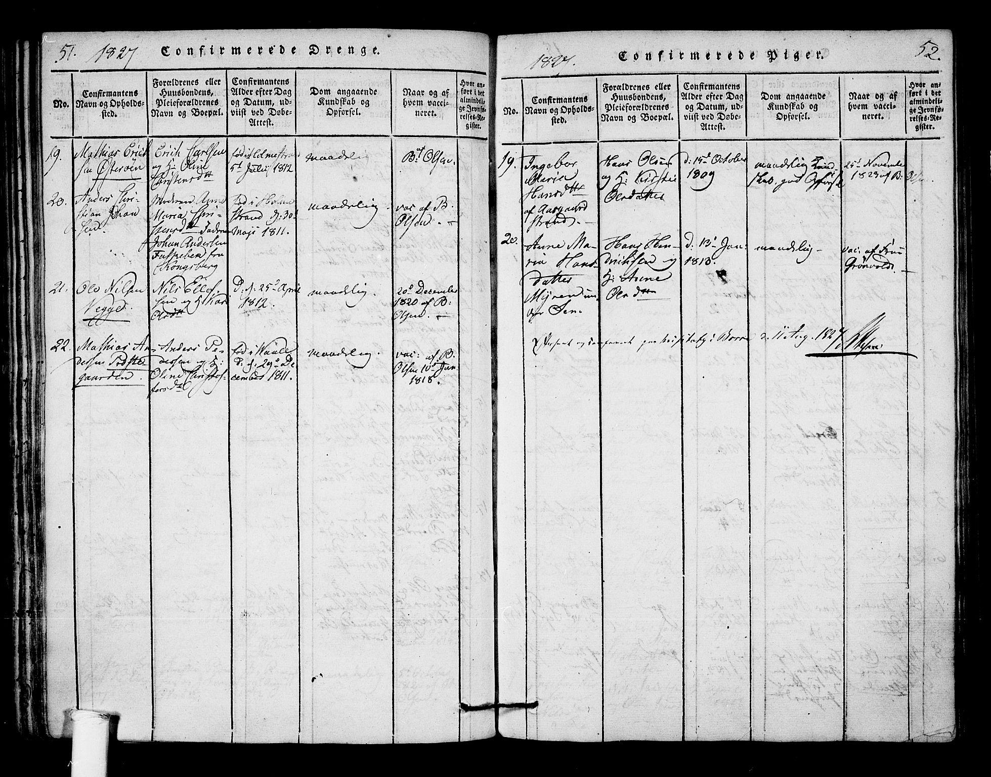 SAKO, Borre kirkebøker, F/Fa/L0004: Ministerialbok nr. I 4, 1815-1845, s. 51-52