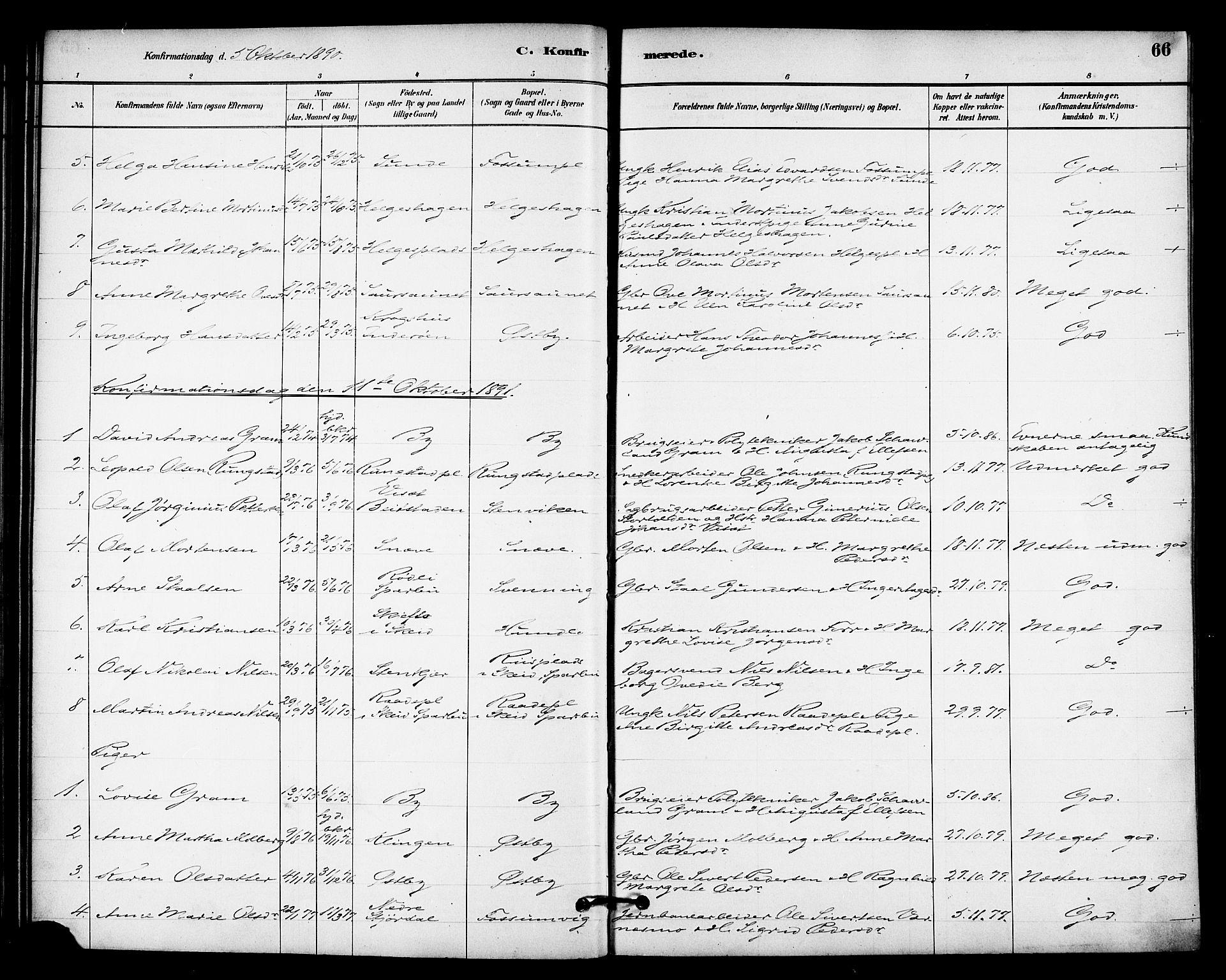 SAT, Ministerialprotokoller, klokkerbøker og fødselsregistre - Nord-Trøndelag, 740/L0378: Ministerialbok nr. 740A01, 1881-1895, s. 66
