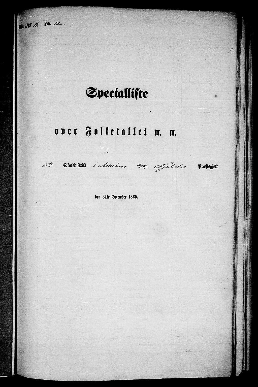 RA, Folketelling 1865 for 1246P Fjell prestegjeld, 1865, s. 187