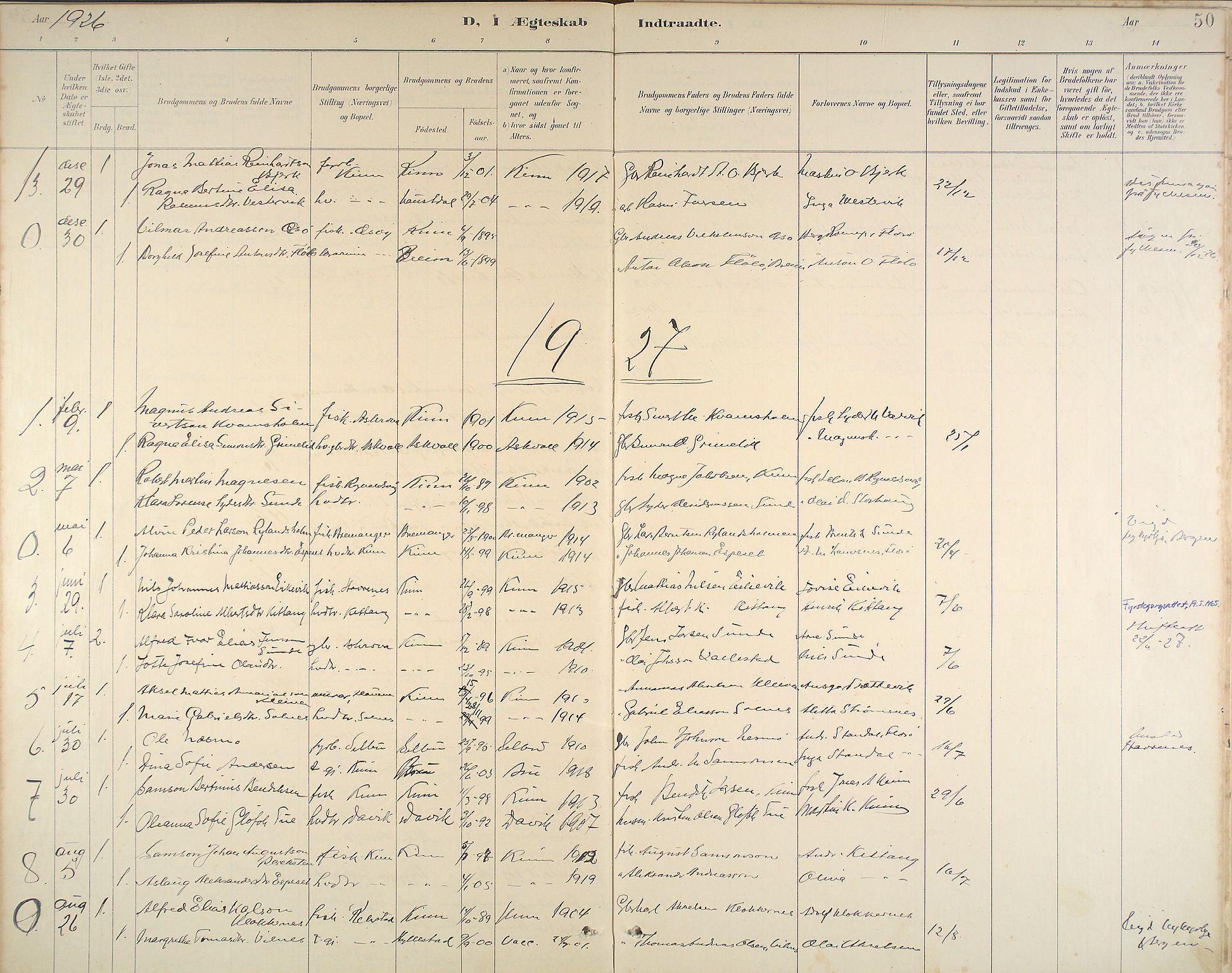 Kinn Sokneprestembete, Ministerialbok nr. B 3, 1886-1936, s. 50