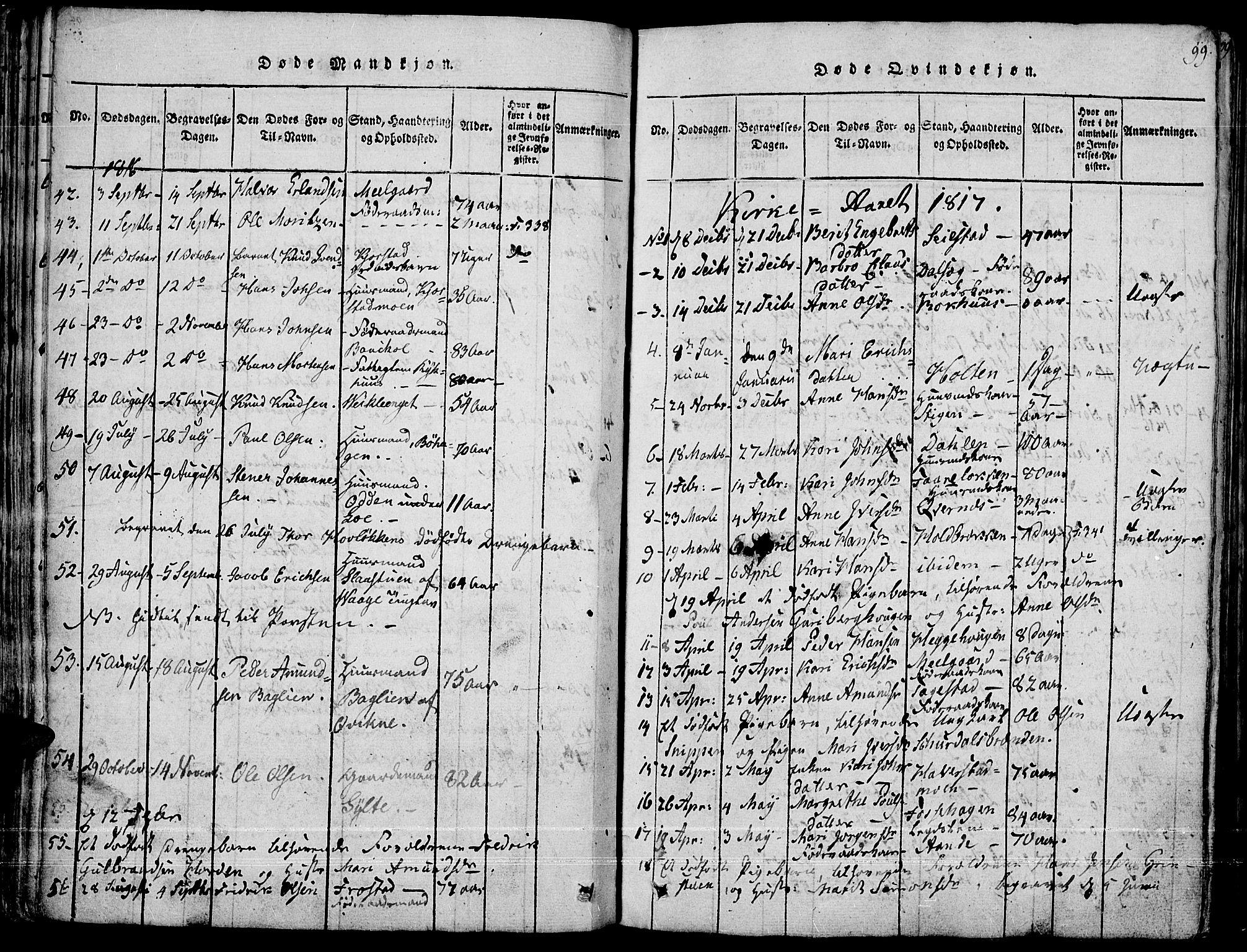 SAH, Fron prestekontor, H/Ha/Haa/L0002: Ministerialbok nr. 2, 1816-1827, s. 99