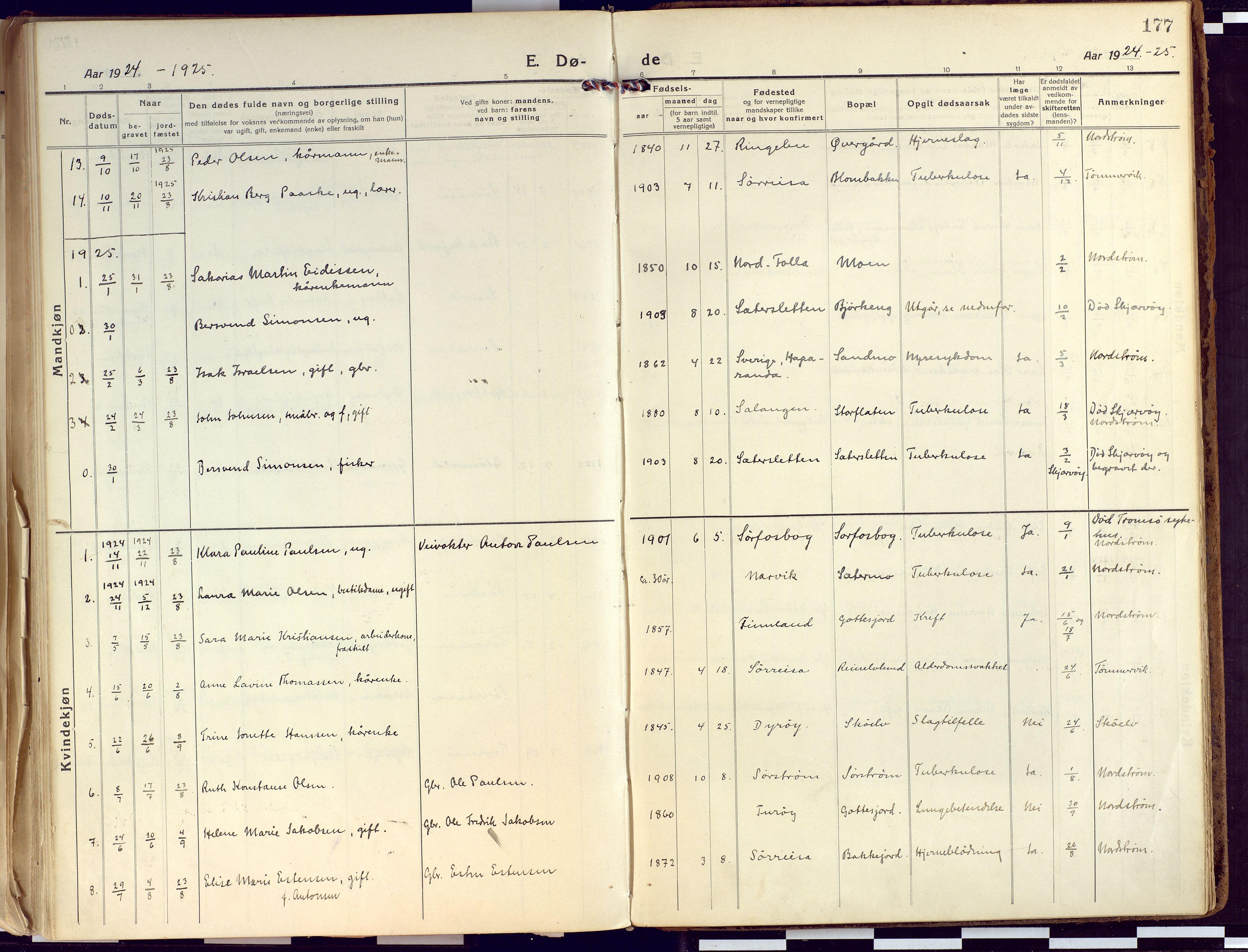 SATØ, Tranøy sokneprestkontor, I/Ia/Iaa/L0015kirke: Ministerialbok nr. 15, 1919-1928, s. 177