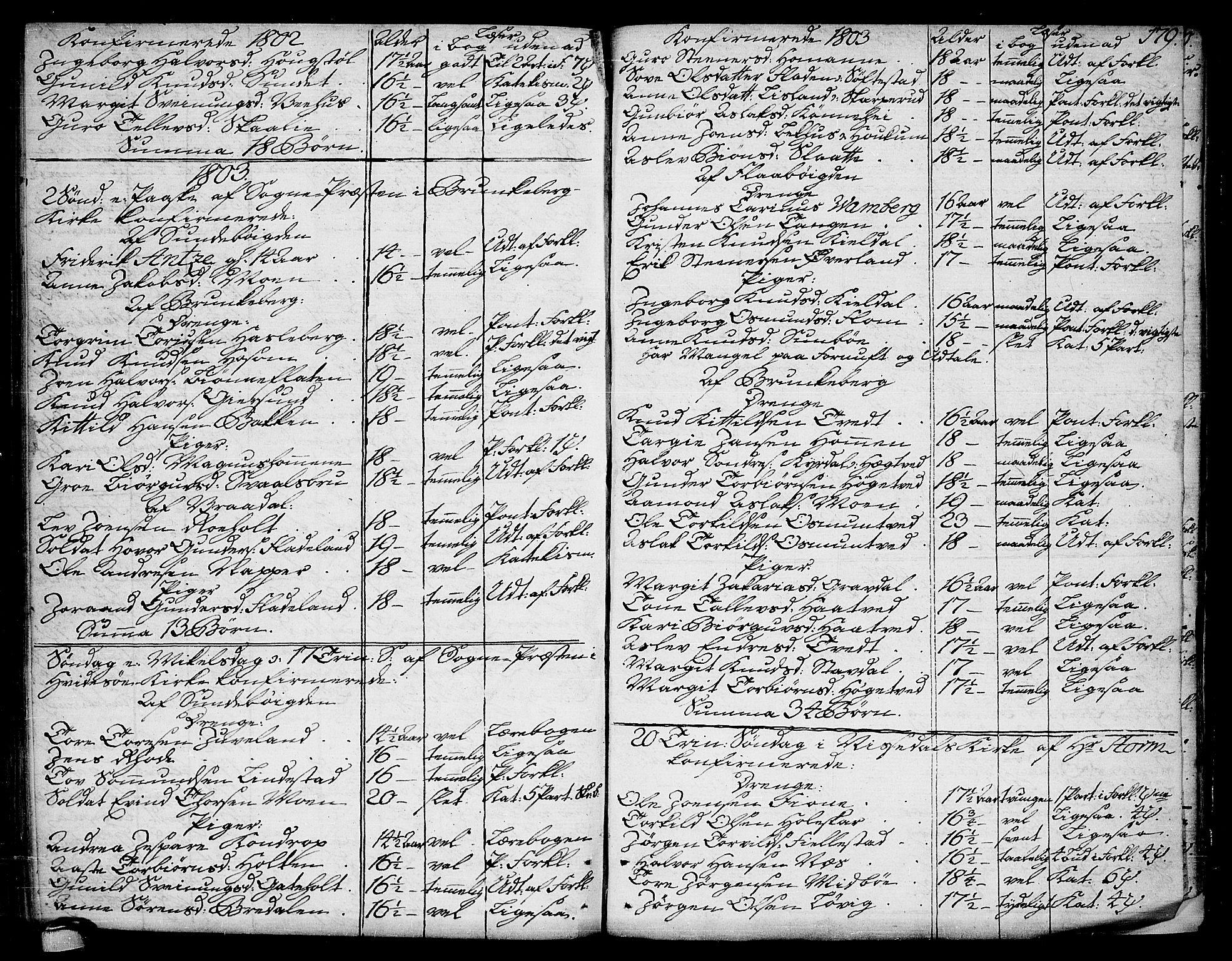 SAKO, Kviteseid kirkebøker, F/Fa/L0004: Ministerialbok nr. I 4, 1800-1814, s. 179