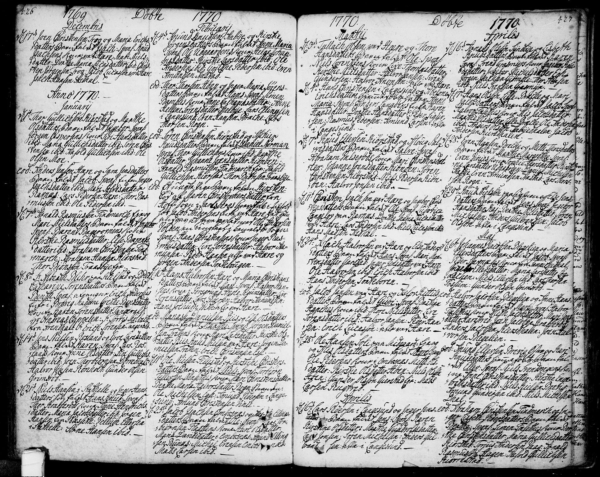 SAKO, Bamble kirkebøker, F/Fa/L0001: Ministerialbok nr. I 1, 1702-1774, s. 426-427