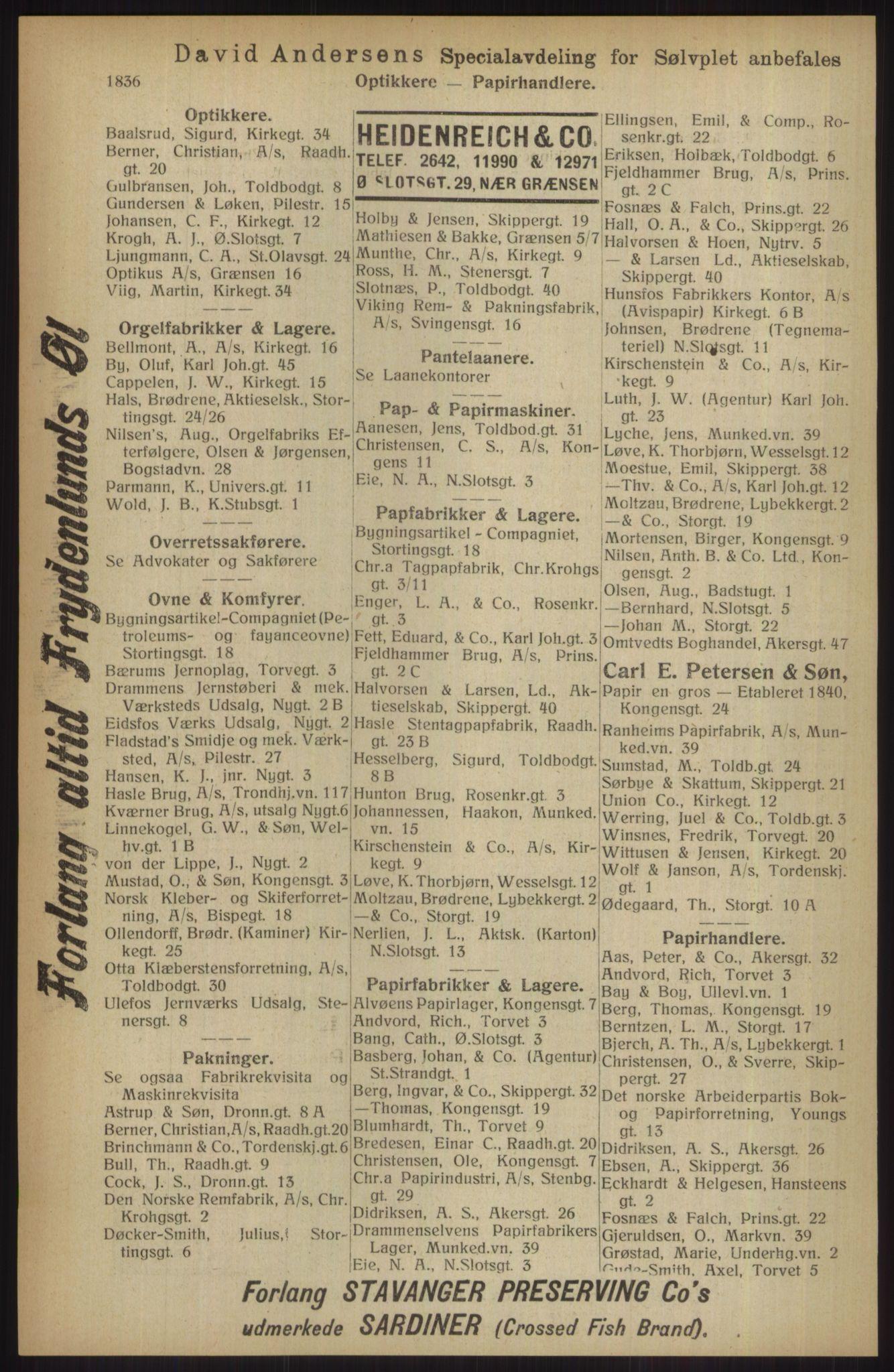 RA, Kristiania adressebok (publikasjon)*, 1914, s. 1836
