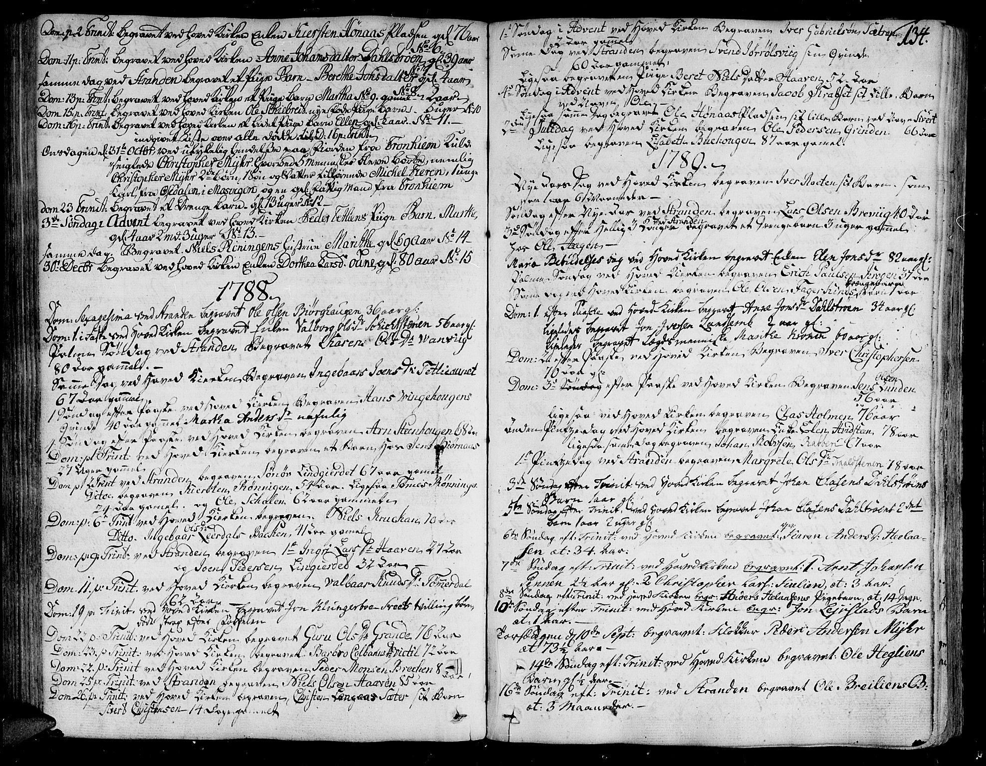SAT, Ministerialprotokoller, klokkerbøker og fødselsregistre - Nord-Trøndelag, 701/L0004: Ministerialbok nr. 701A04, 1783-1816, s. 134