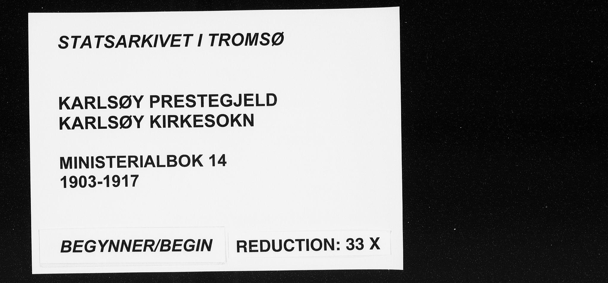 SATØ, Karlsøy sokneprestembete, Ministerialbok nr. 14, 1903-1917