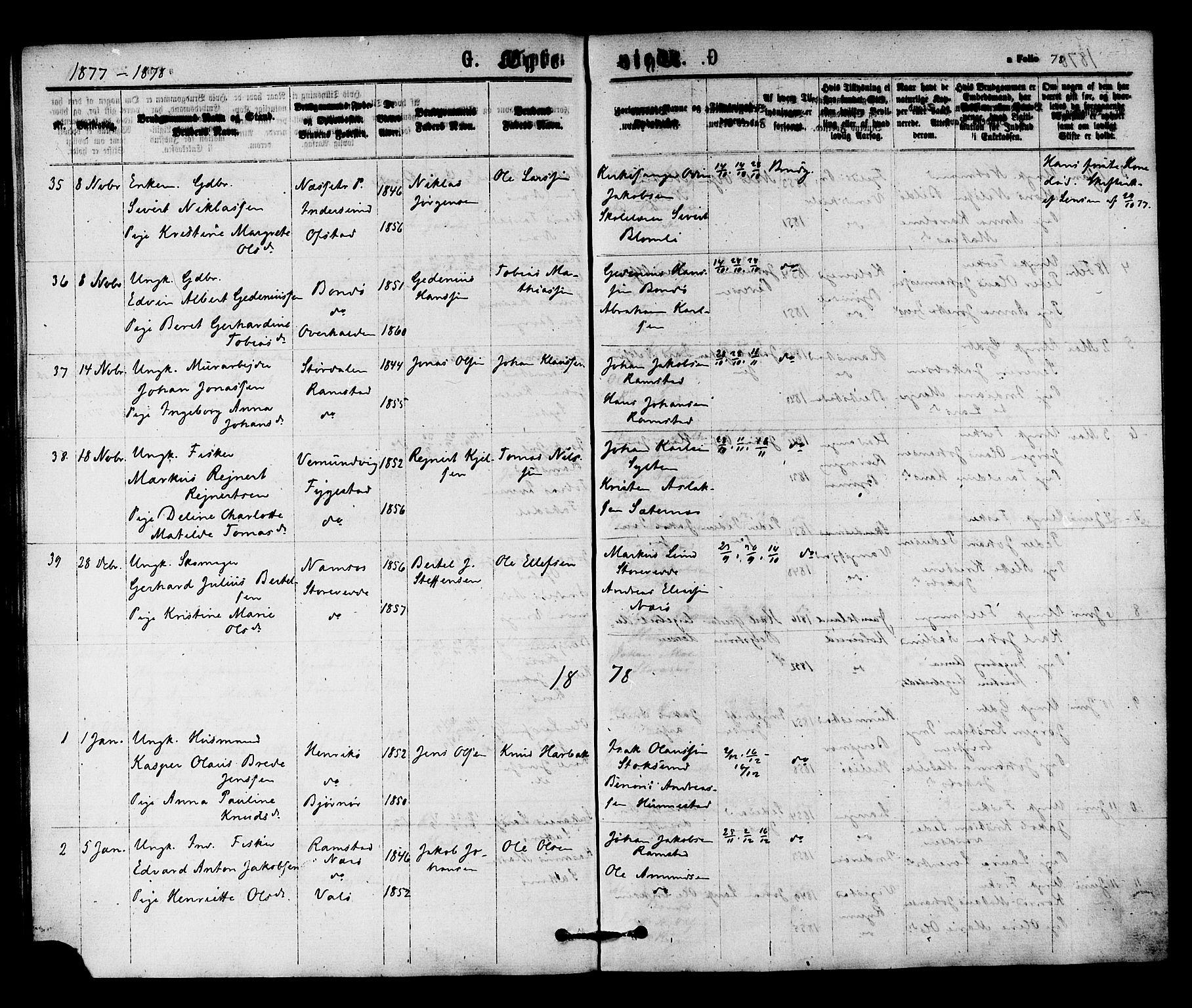 SAT, Ministerialprotokoller, klokkerbøker og fødselsregistre - Nord-Trøndelag, 784/L0671: Ministerialbok nr. 784A06, 1876-1879, s. 78
