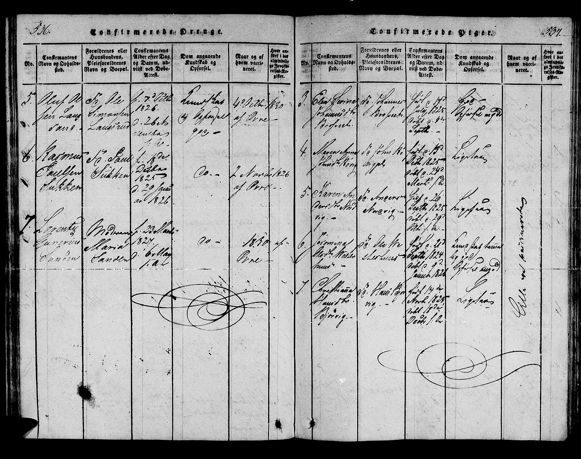 SAT, Ministerialprotokoller, klokkerbøker og fødselsregistre - Nord-Trøndelag, 722/L0217: Ministerialbok nr. 722A04, 1817-1842, s. 536-537