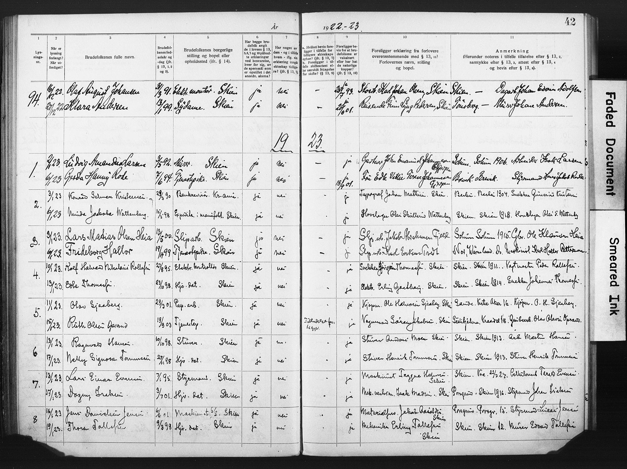 SAKO, Skien kirkebøker, H/Ha/L0001: Lysningsprotokoll nr. 1, 1919-1929, s. 42