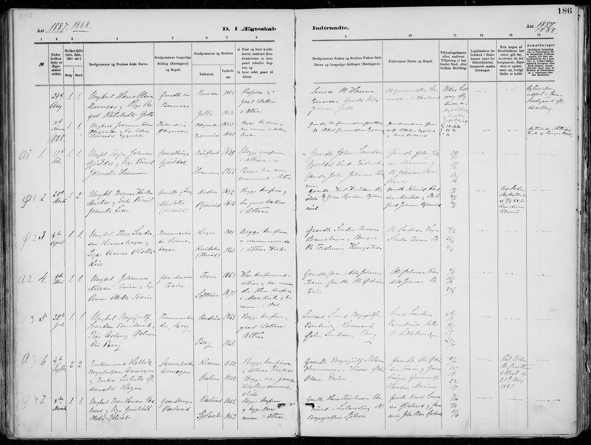 SAKO, Tinn kirkebøker, F/Fa/L0007: Ministerialbok nr. I 7, 1878-1922, s. 186