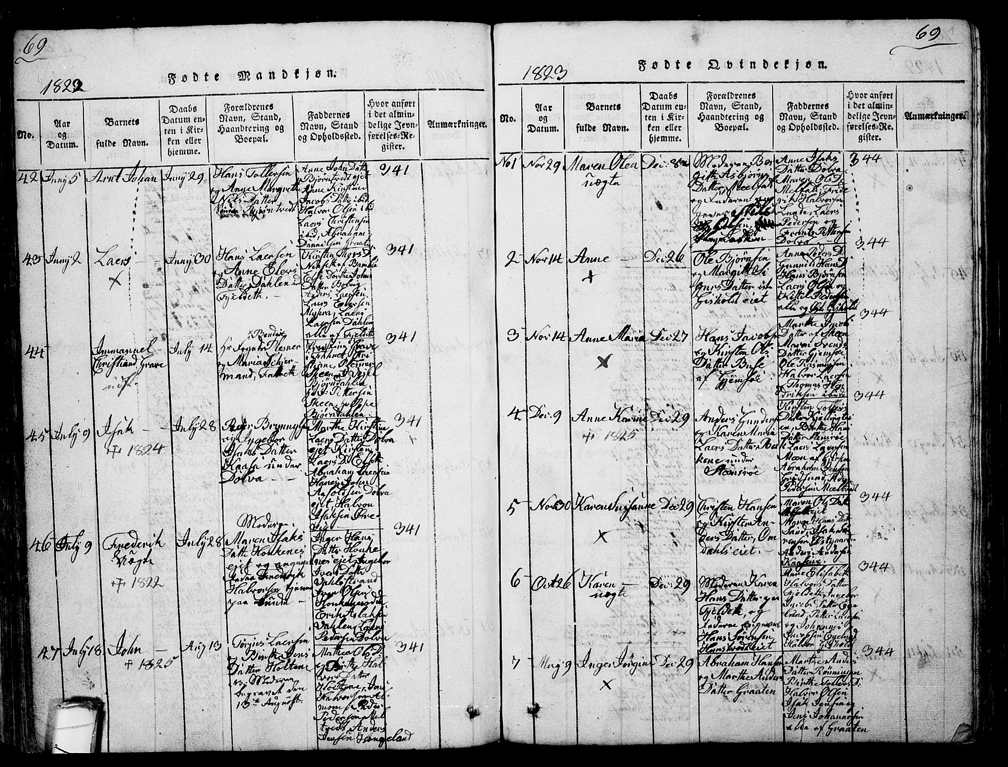 SAKO, Solum kirkebøker, G/Ga/L0001: Klokkerbok nr. I 1, 1814-1833, s. 69