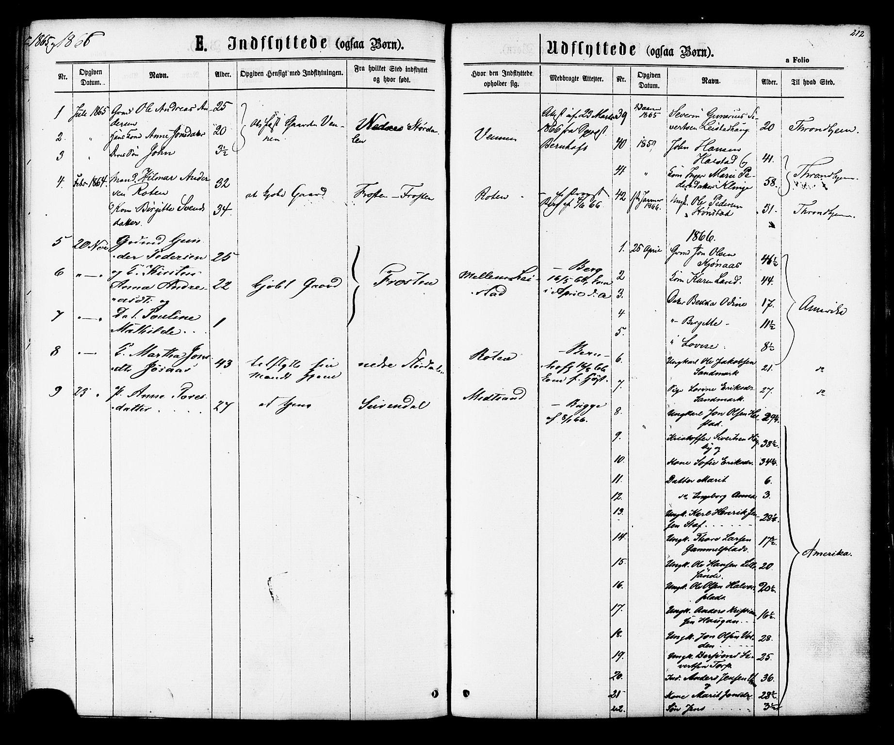 SAT, Ministerialprotokoller, klokkerbøker og fødselsregistre - Sør-Trøndelag, 616/L0409: Ministerialbok nr. 616A06, 1865-1877, s. 212