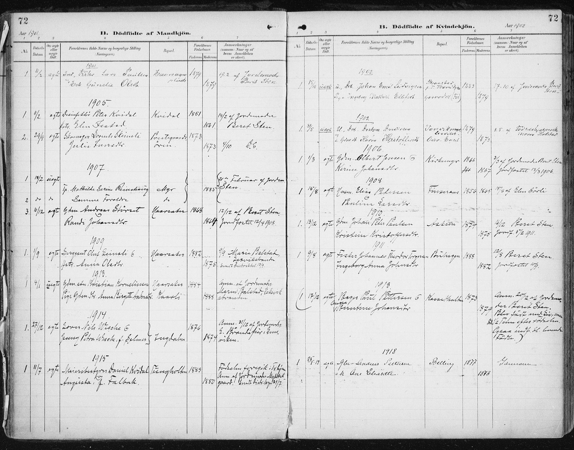 SAT, Ministerialprotokoller, klokkerbøker og fødselsregistre - Sør-Trøndelag, 646/L0616: Ministerialbok nr. 646A14, 1900-1918, s. 72