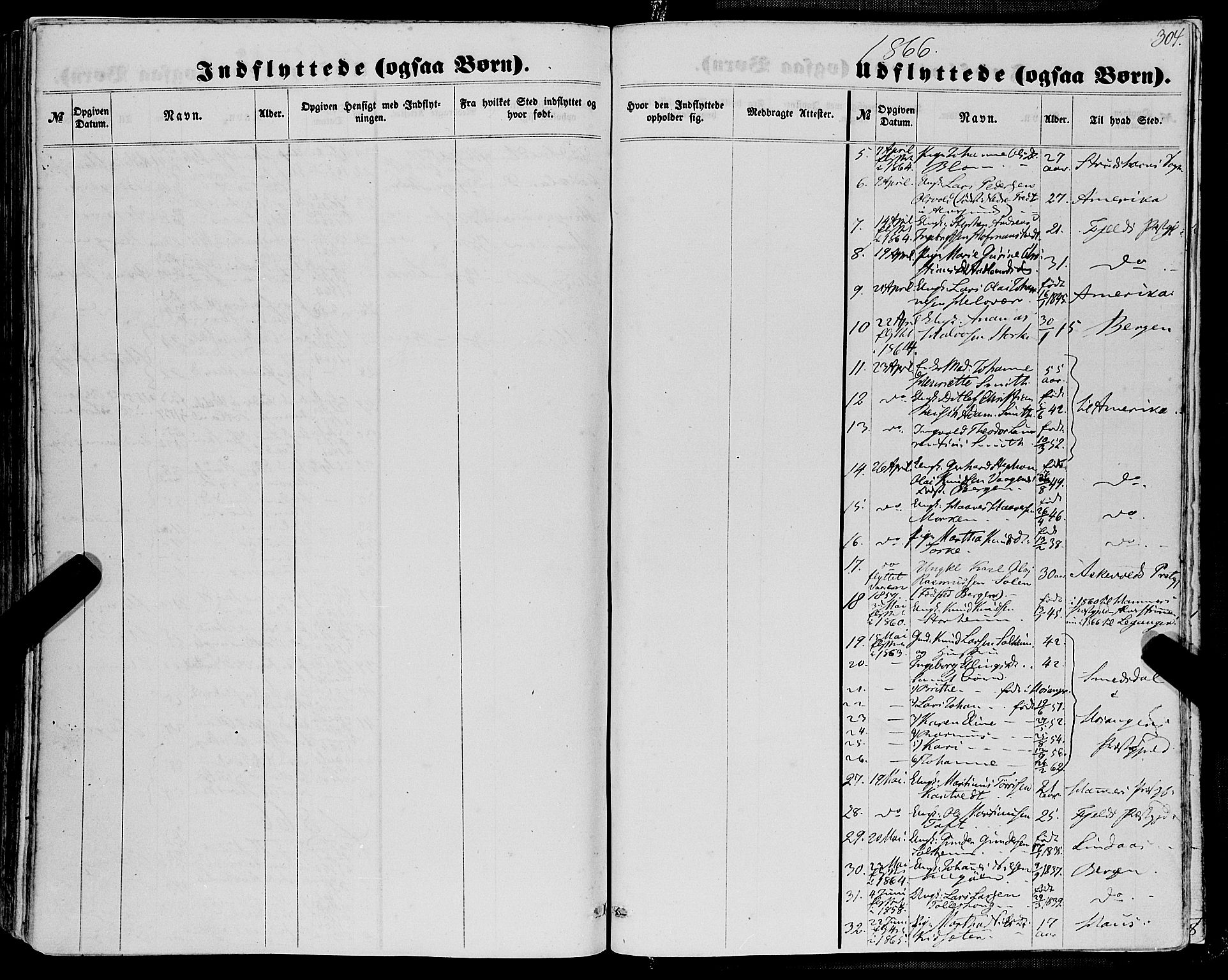 SAB, Manger sokneprestembete, H/Haa: Ministerialbok nr. A 7, 1860-1870, s. 304
