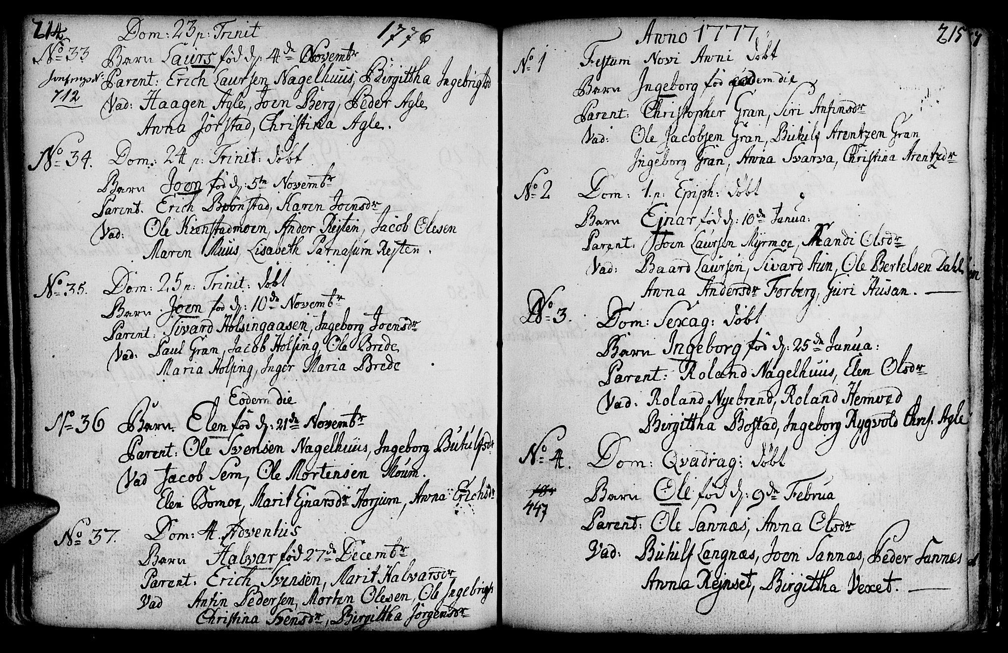 SAT, Ministerialprotokoller, klokkerbøker og fødselsregistre - Nord-Trøndelag, 749/L0467: Ministerialbok nr. 749A01, 1733-1787, s. 214-215