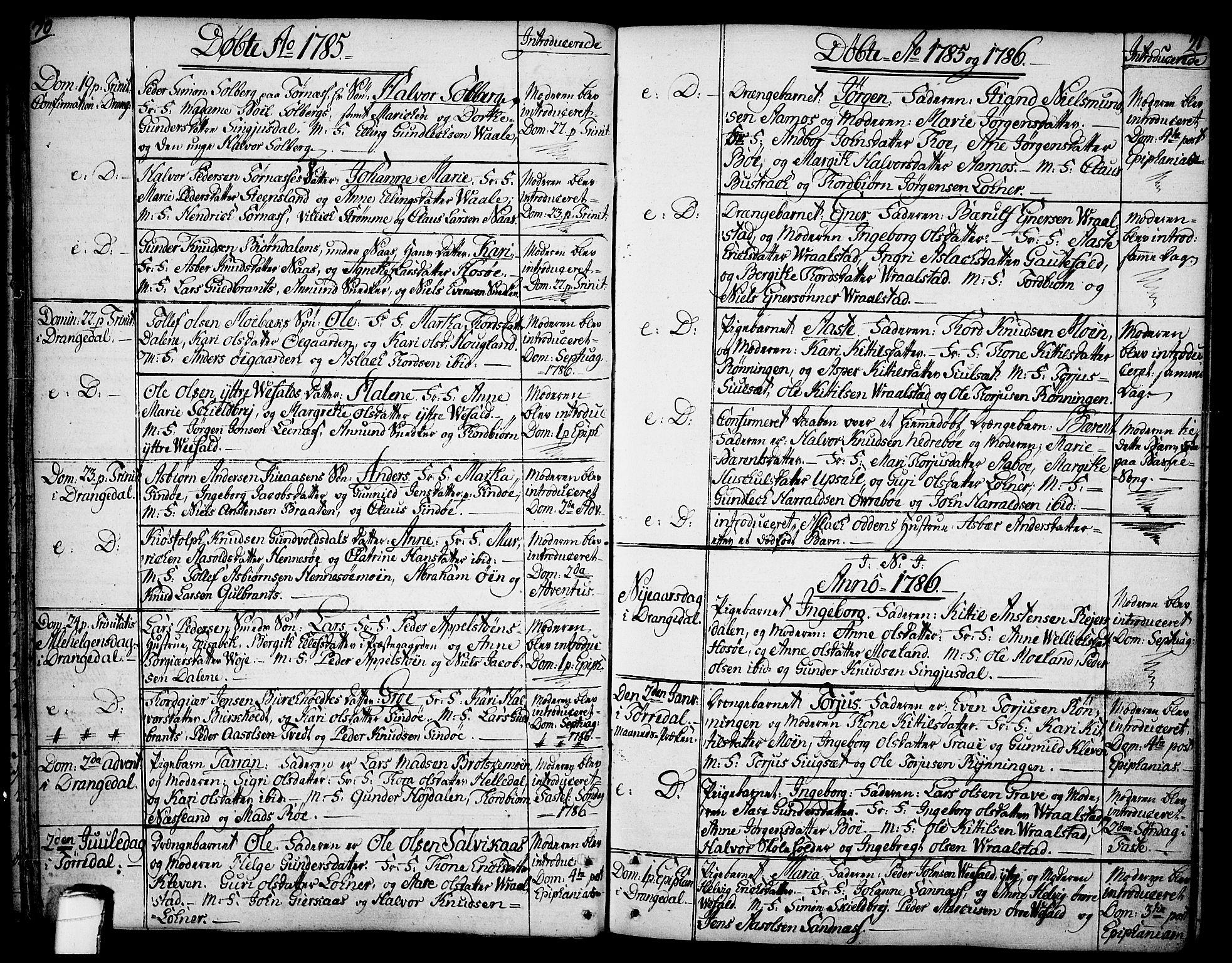 SAKO, Drangedal kirkebøker, F/Fa/L0003: Ministerialbok nr. 3, 1768-1814, s. 70-71