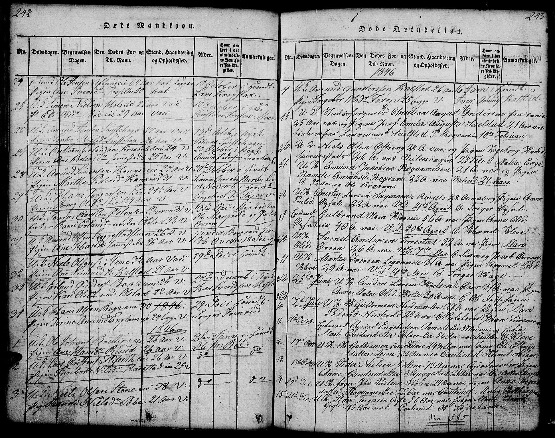 SAH, Gausdal prestekontor, Klokkerbok nr. 1, 1817-1848, s. 242-243