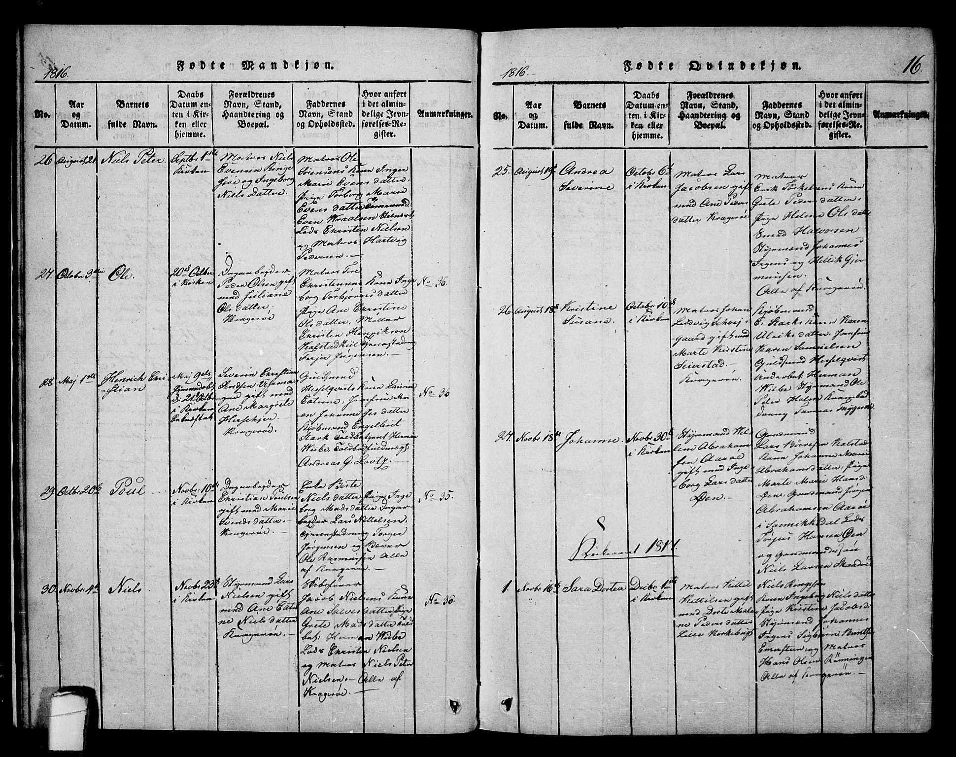 SAKO, Kragerø kirkebøker, F/Fa/L0004: Ministerialbok nr. 4, 1814-1831, s. 16