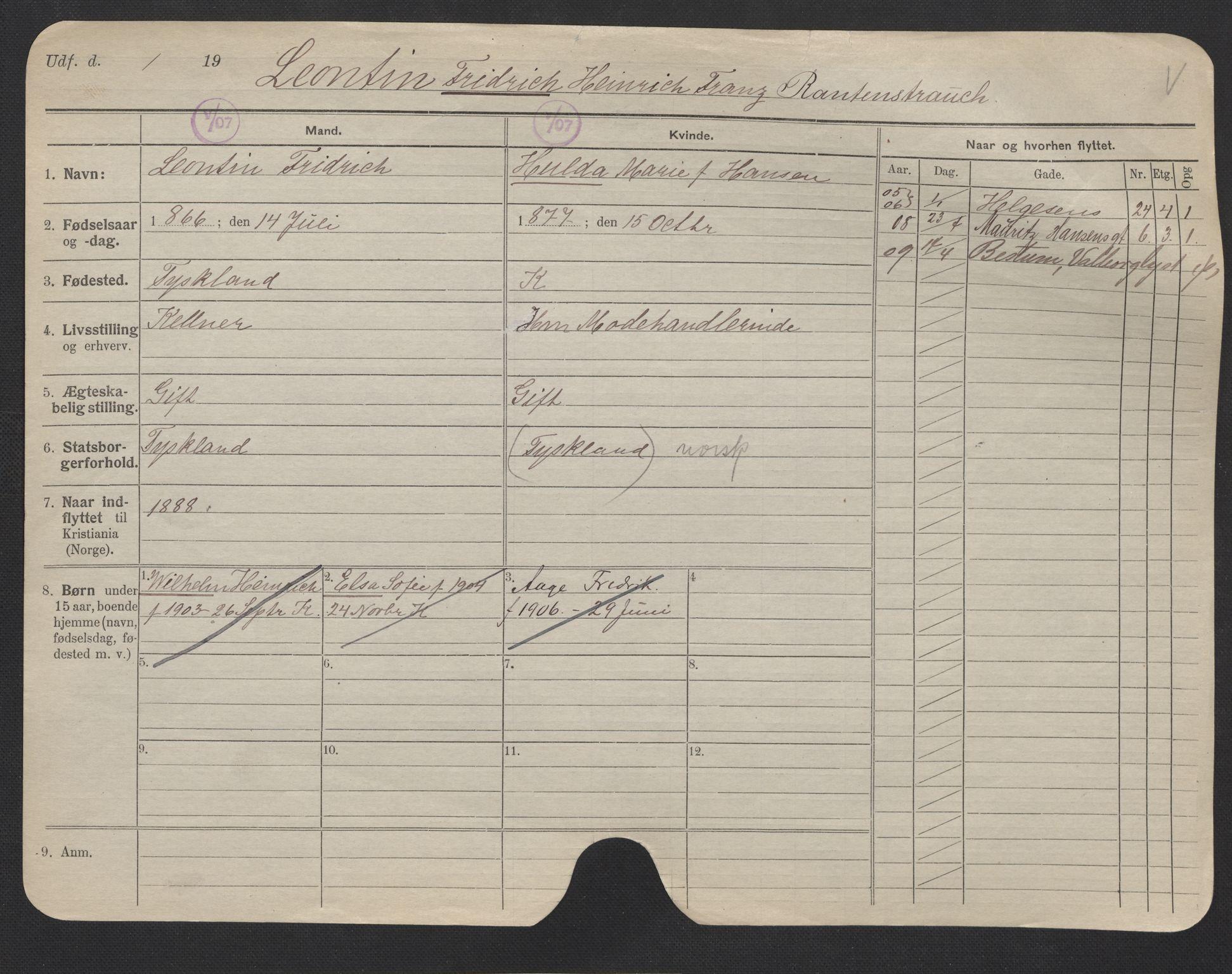 SAO, Oslo folkeregister, Registerkort, F/Fa/Fac/L0007: Menn, 1906-1914, s. 51a