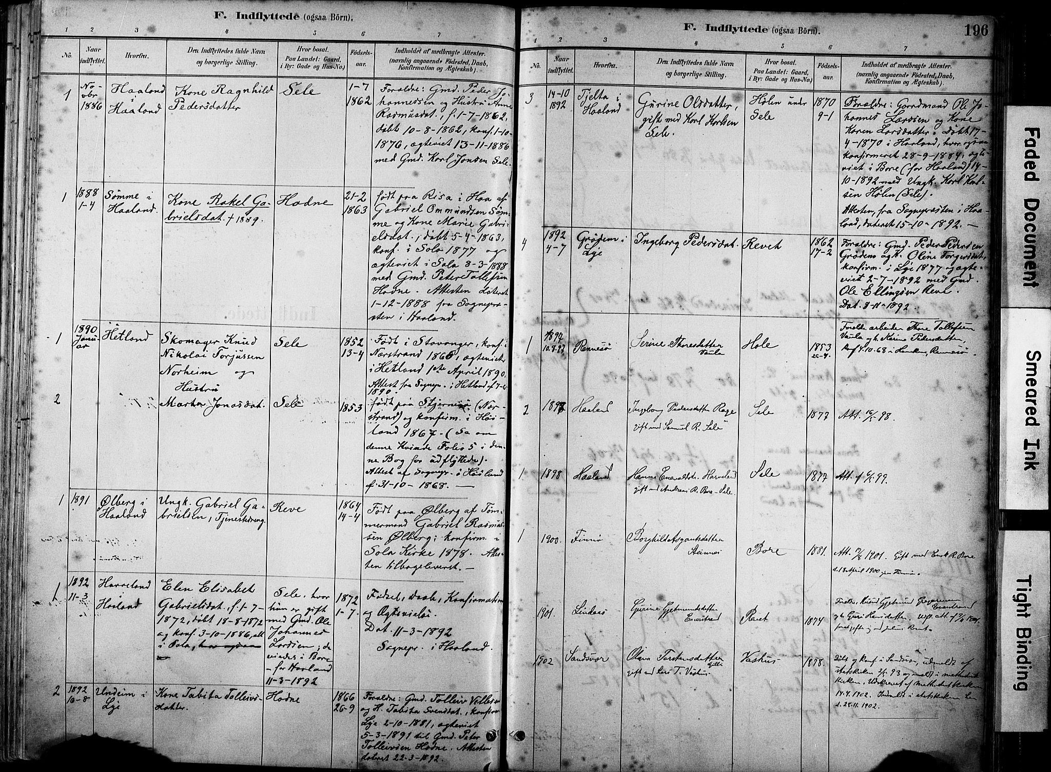 SAST, Klepp sokneprestkontor, 30BA/L0008: Ministerialbok nr. A 9, 1886-1919, s. 196
