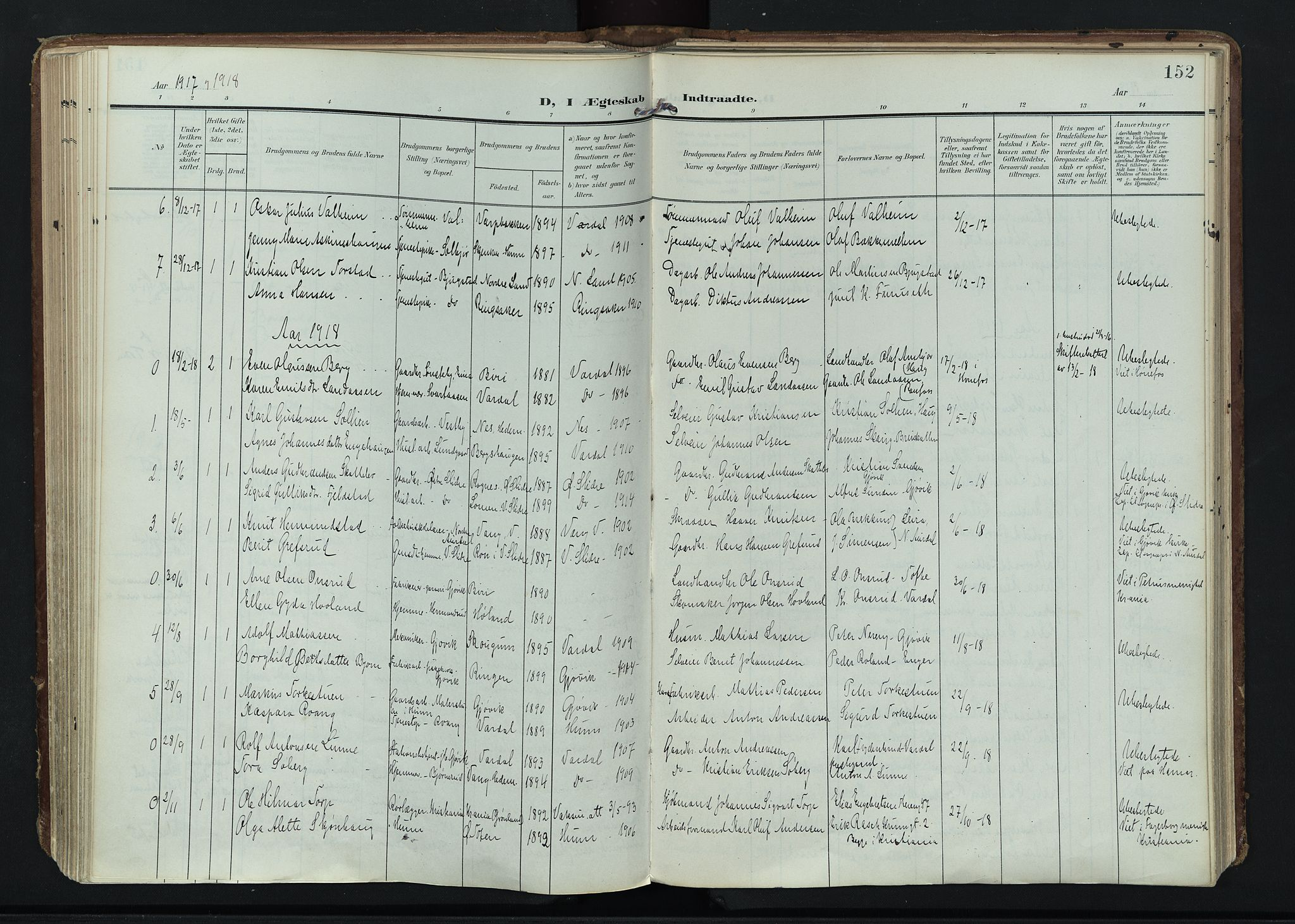 SAH, Vardal prestekontor, H/Ha/Haa/L0020: Ministerialbok nr. 20, 1907-1921, s. 152